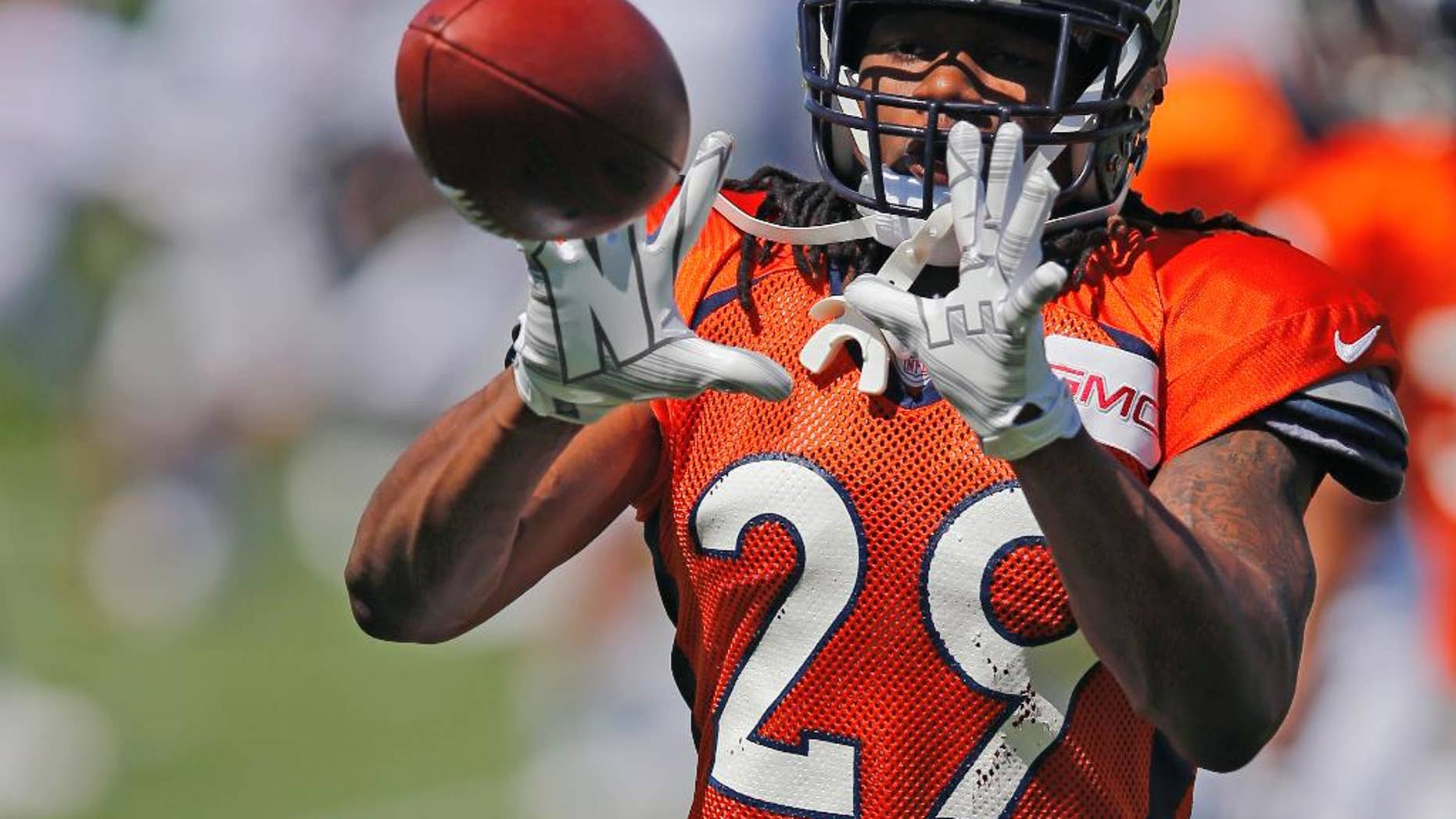 FILE - In this Thursday, Aug. 14, 2014  file photo, Denver Broncos' Bradley Roby runs a drill during NFL football training camp  in Englewood, Colo. (AP Photo/Jack Dempsey, File)