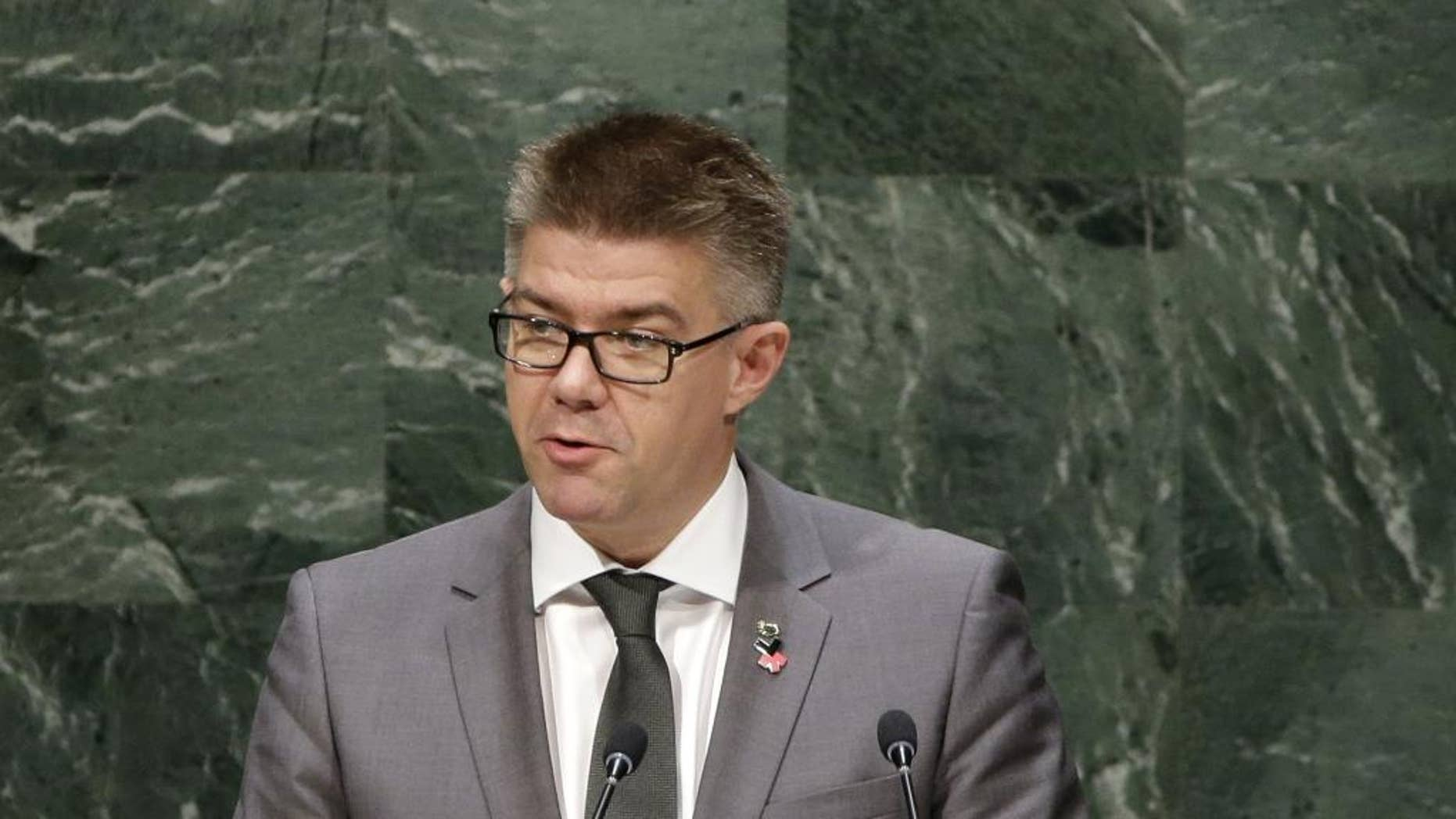 Gunnar Bragi Sveinsson, Minister for Foreign Affairs of Iceland, speaks during the 69th session of the United Nations General Assembly at U.N. headquarters, Monday, Sept. 29, 2014. (AP Photo/Seth Wenig)