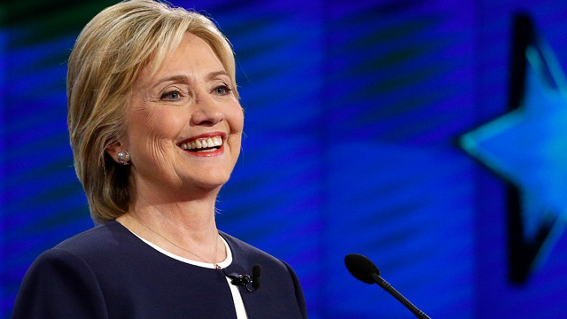 Oct. 13, 2015: Hillary Rodham Clinton smiles during the CNN Democratic presidential debate in Las Vegas. (AP Photo/John Locher)