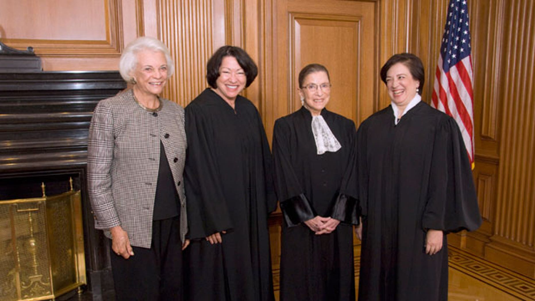 Retired Justice Sandra Day O'Connor, Justice Sonia Sotomayor, Justice Ruth Bader Ginsburg and Justice Elena Kagan in the Justices' Conference Room prior to Justice Kagan's Investiture, Friday, Oct. 1, 2010, at the court in Washington.