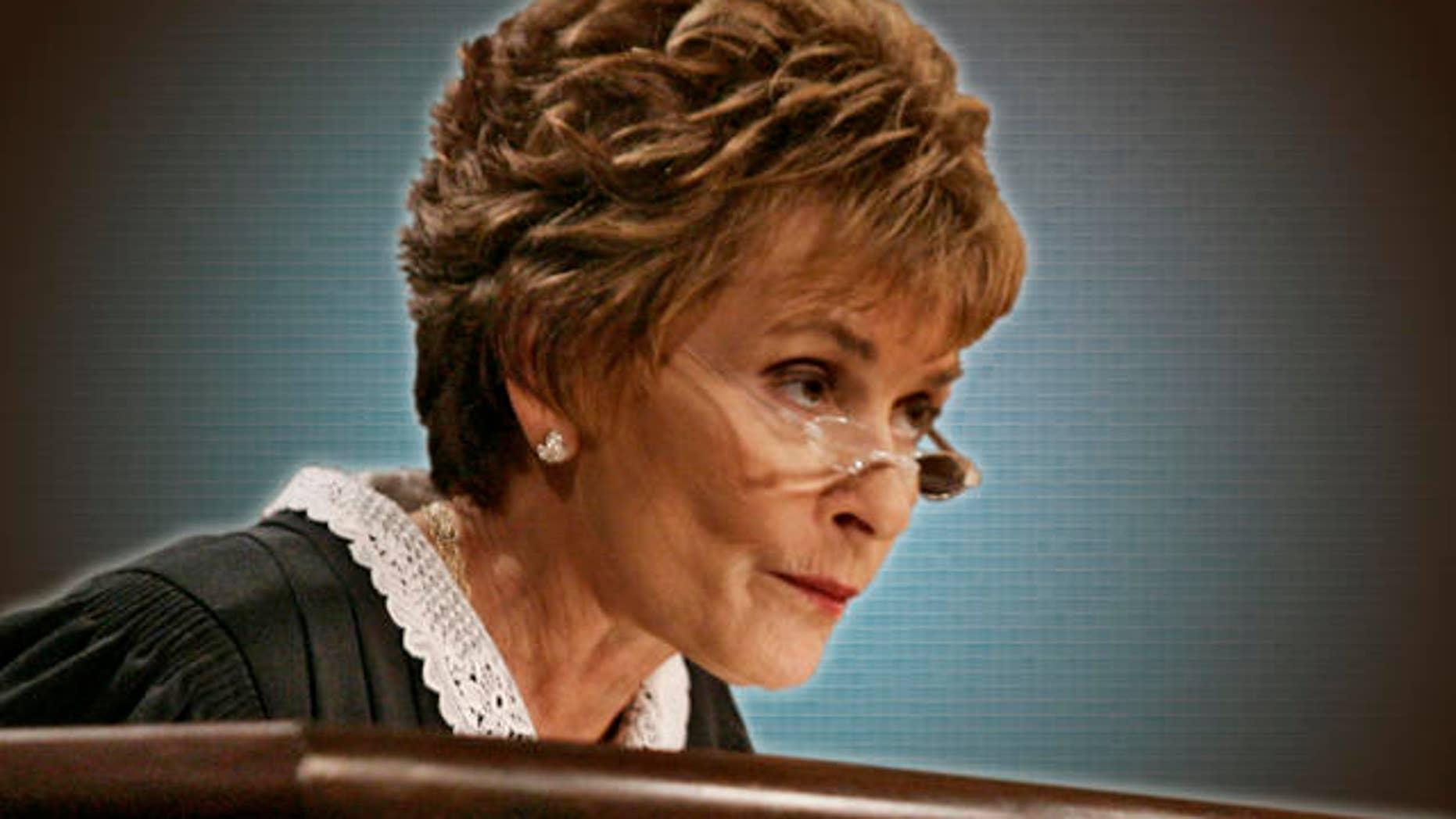 """Judge Judy Sheindlin presides over a case on the set of her syndicated show """"Judge Judy."""""""