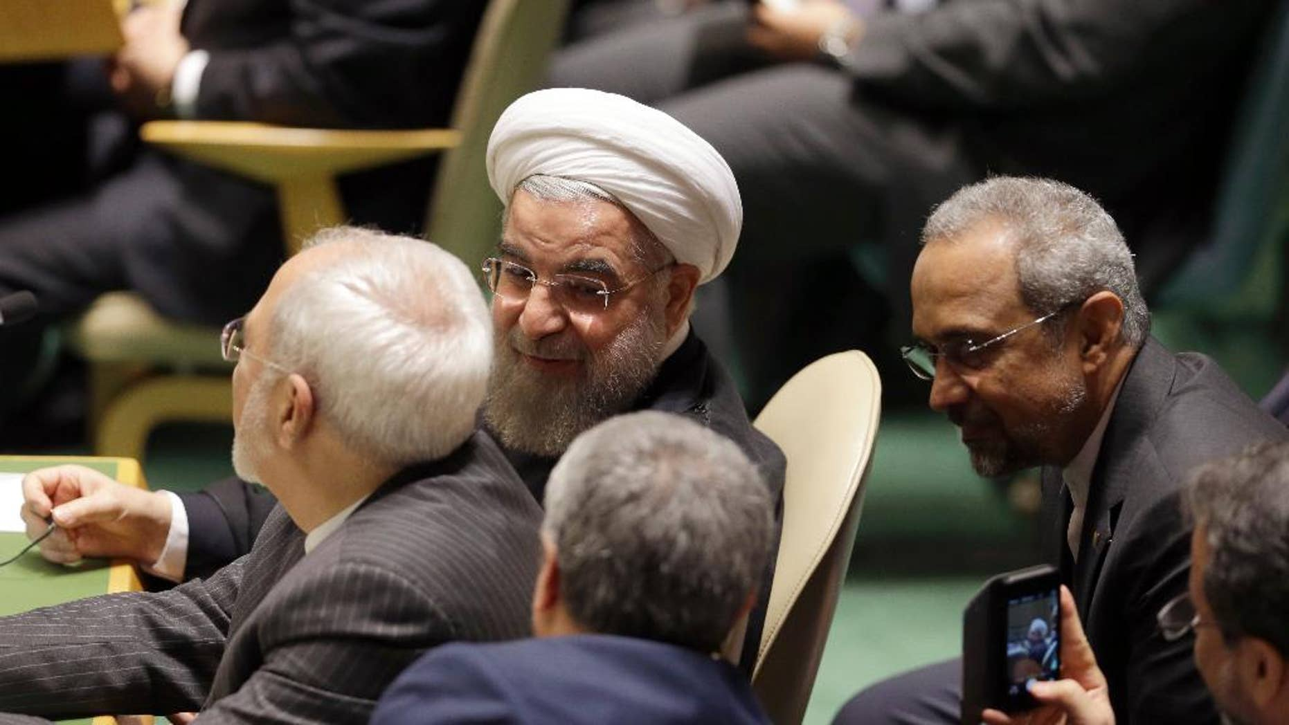 Iran's President Hassan Rouhani attends the Sustainable Development Summit 2015, Friday, Sept. 25, 2015 at United Nations headquarters.  (AP Photo/Mary Altaffer)