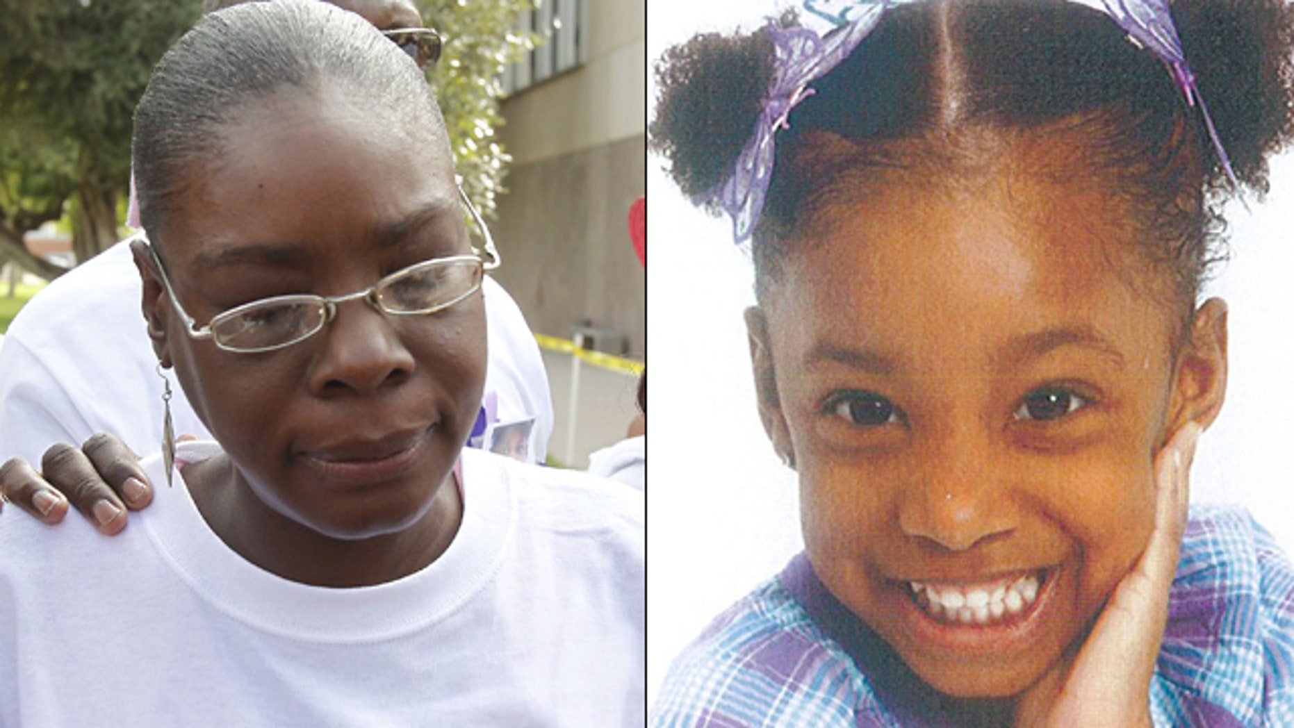 """Jerice Hunter, left, was arrested on child abuse charges """"directly related to Jhessye"""" Shockley, right, who has been missing since Oct. 11, 2011, police said."""