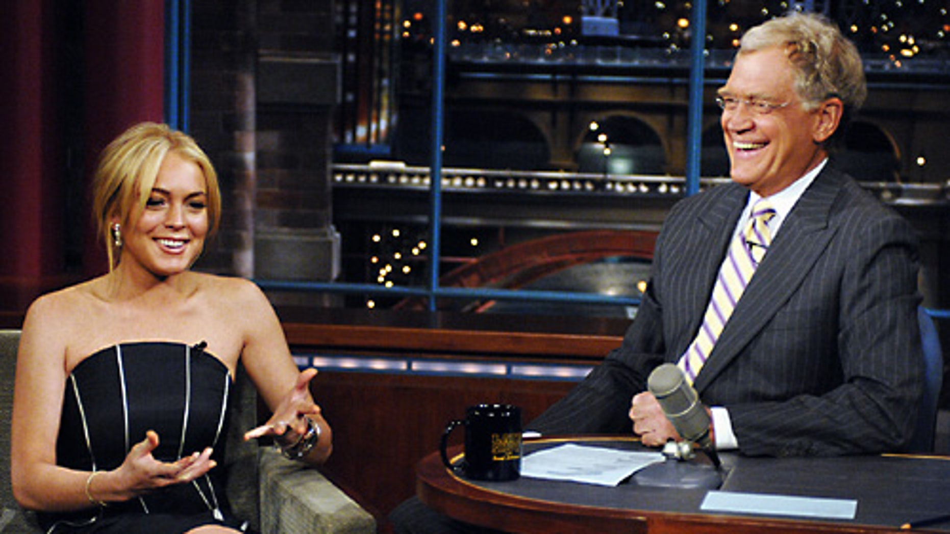 Lindsay Lohan on 'Late Night' in 2007. (CBS)
