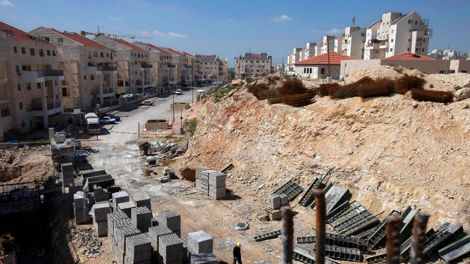 This March 14, 2011 file photo shows a general view of a construction site in the West Bank Jewish settlement of Modiin Illit.