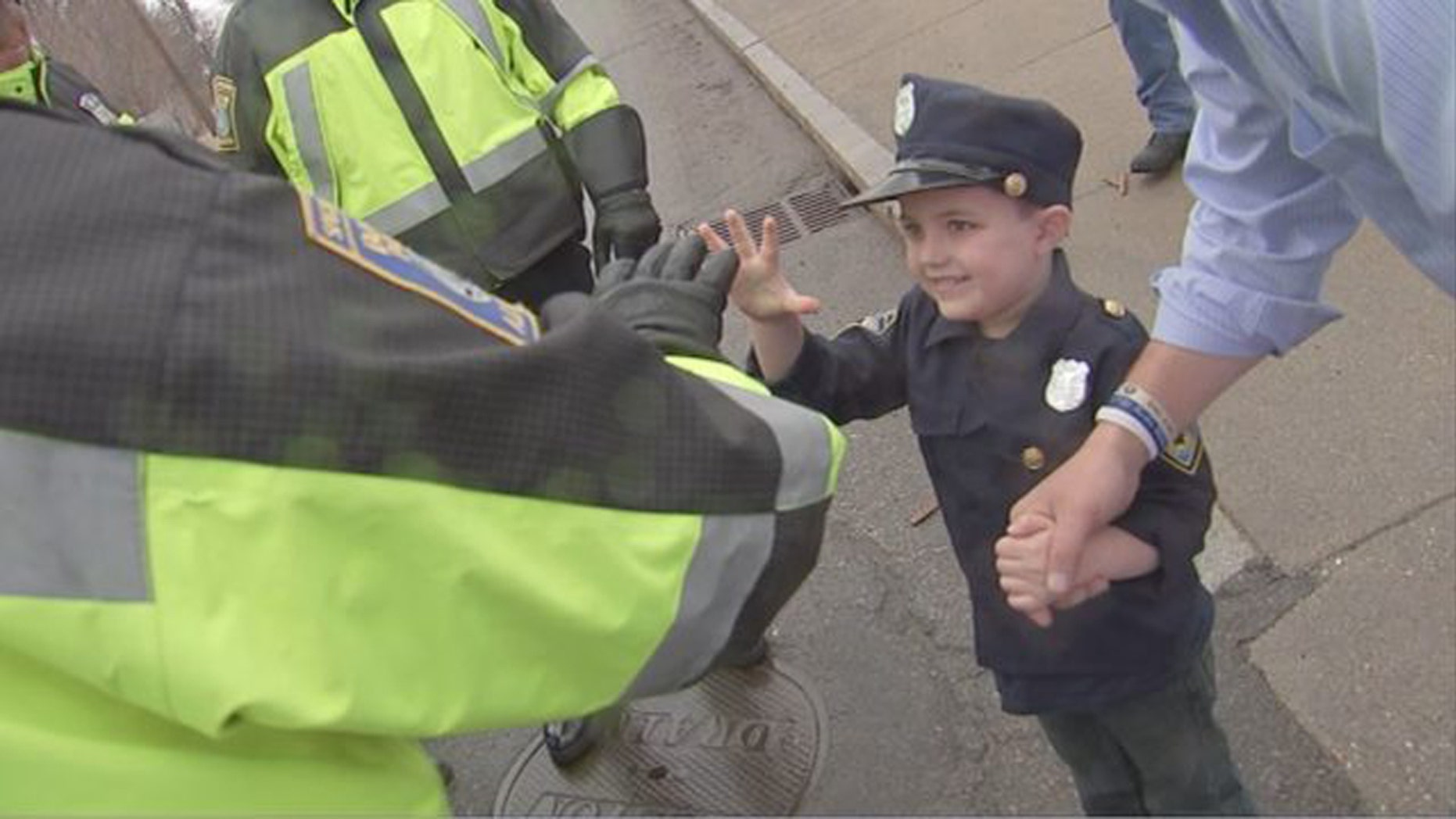 Declan Higgins got to be an honorary Boston Police officer for the day.
