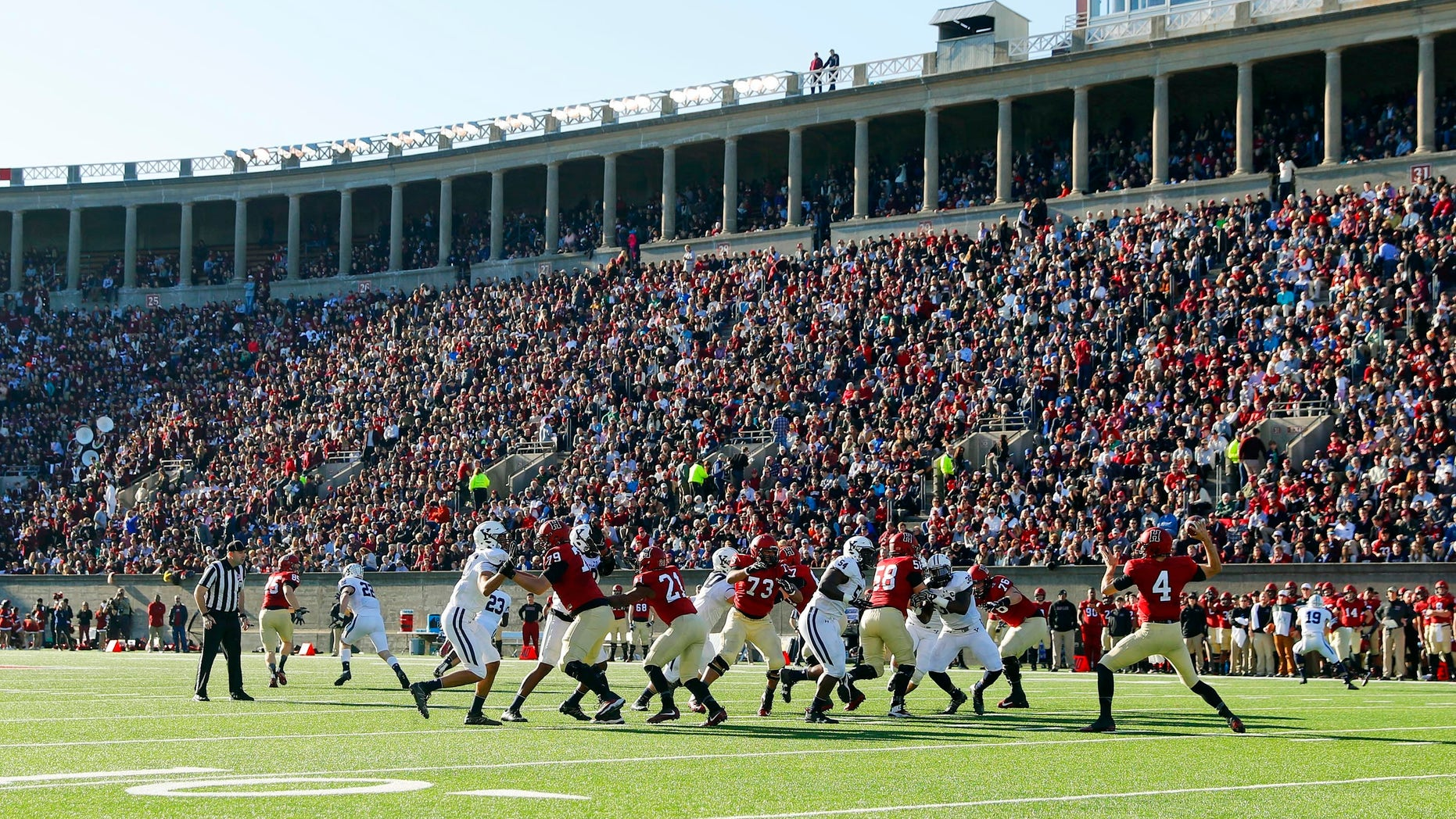 Harvard and Yale playing in Cambridge on Saturday.
