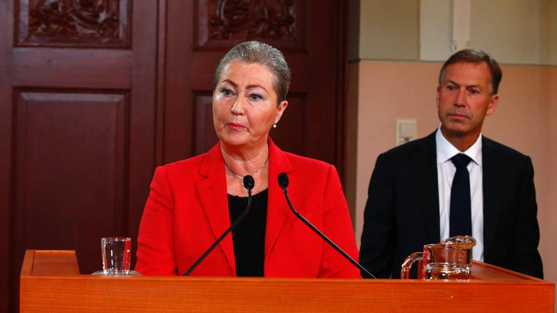 Kaci Kullmann Five, the new head of the Norwegian Nobel Peace Prize Committee, announces the winner of 2015 Nobel peace prize during a press conference in Oslo, Norway, Friday Oct. 9, 2015. The Norwegian Nobel Committee announced Friday that the 2015 Nobel Peace Prize was awarded to the Tunisian National Dialogue Quartet.