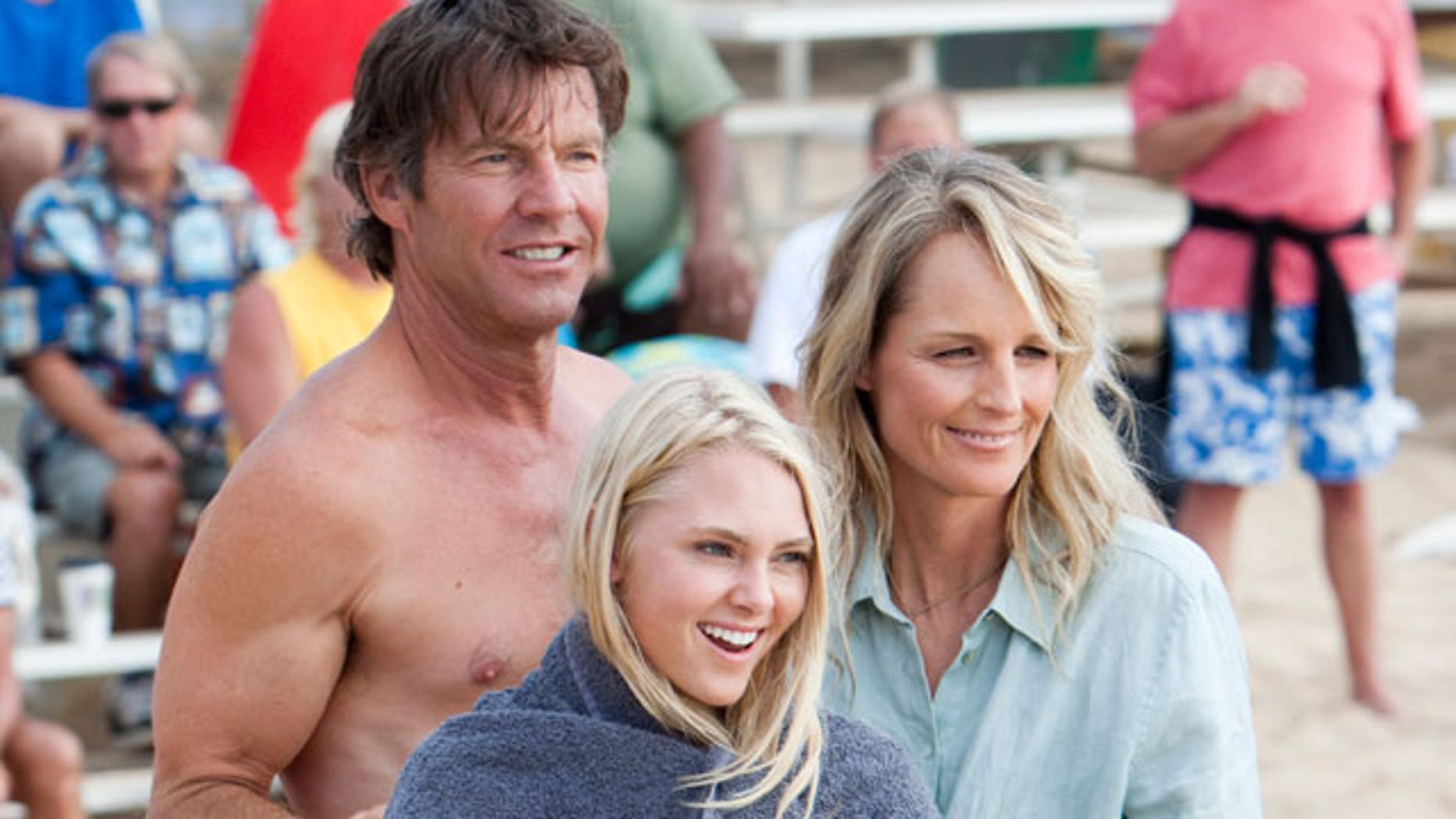 Dennis Quaid, AnnaSophia Robb and Helen Hunt in a still from the film 'Soul Surfer.' (AP/Tristar)