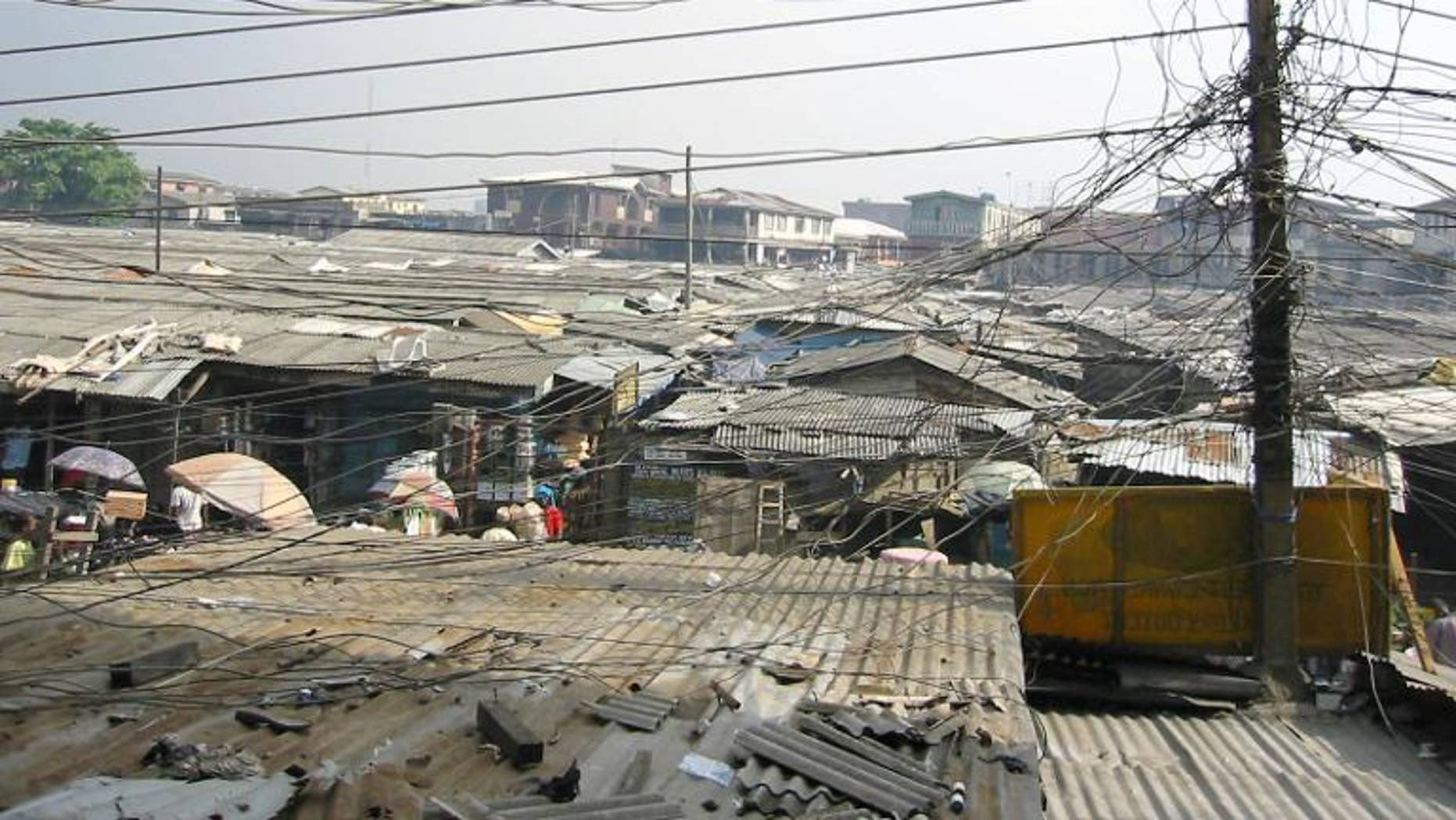 A scramble of power cables in Oshodi district of Lagos, Nigeria's largest city, on April, 16, 2003