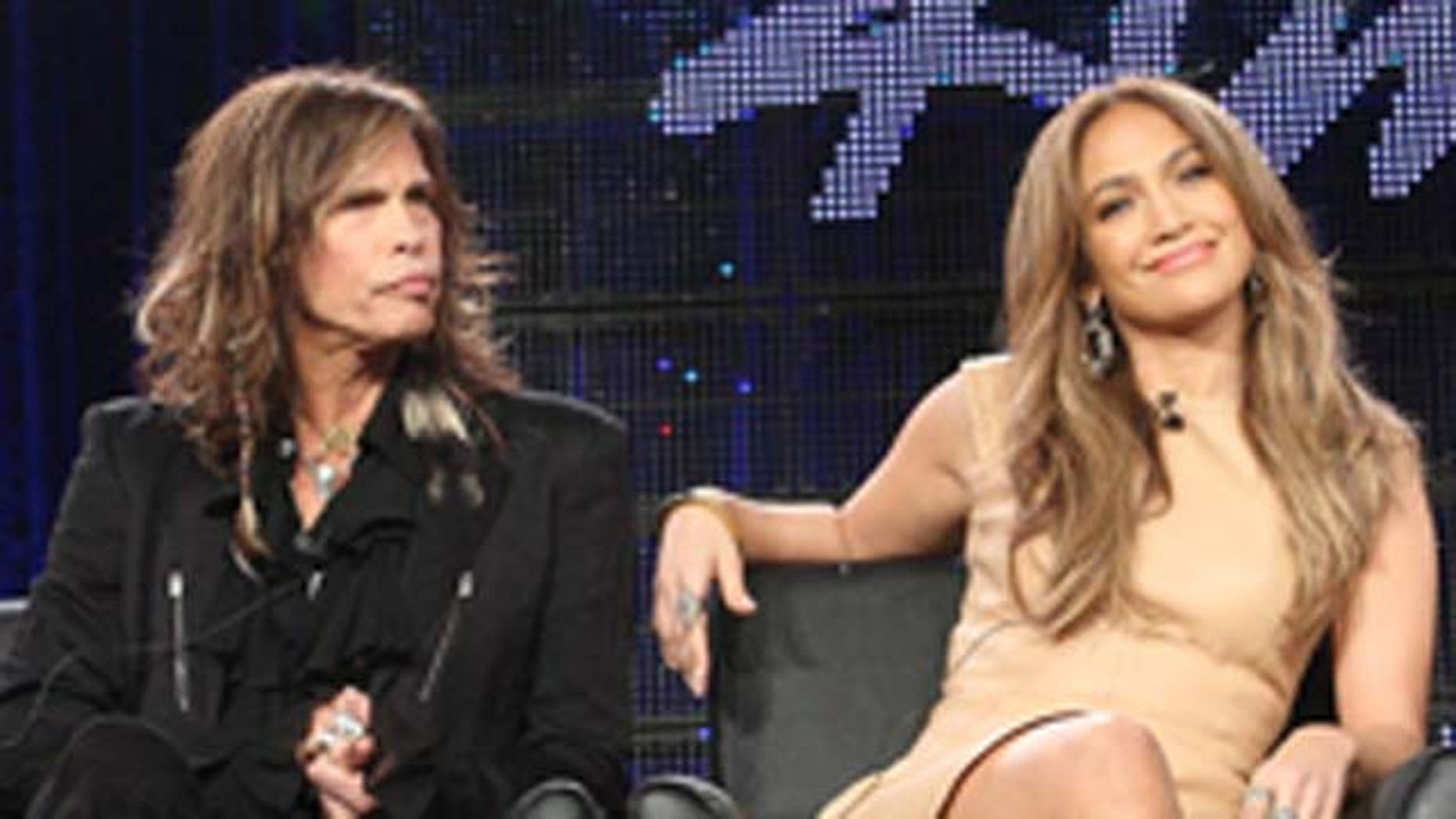 Jan. 11, 2011: Musicians Steven Tyler, Jennifer Lopez and producer Randy Jackson speak onstage during the 'American Idol' panel at the FOX Broadcasting Company portion of the 2011 Winter TCA press tour held at the Langham Hotel in Pasadena, Calif.