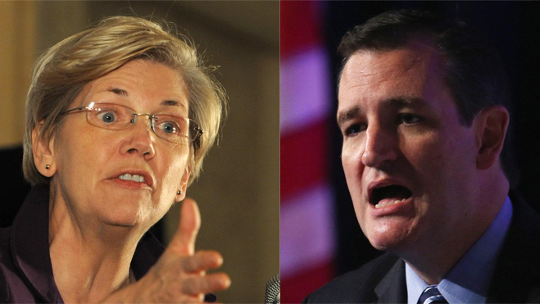 Senators Elizabeth Warren and Ted Cruz. (Photos: Getty)