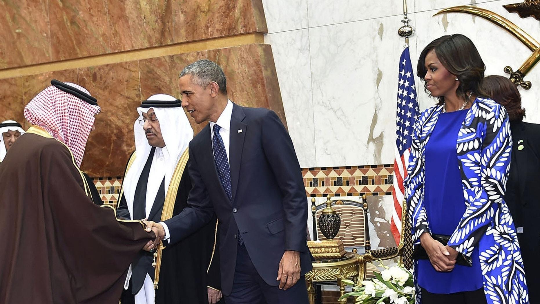 President Obama and first lady Michelle in Riyadh, Saudi Arabia, Tuesday, Jan. 27, 2015.