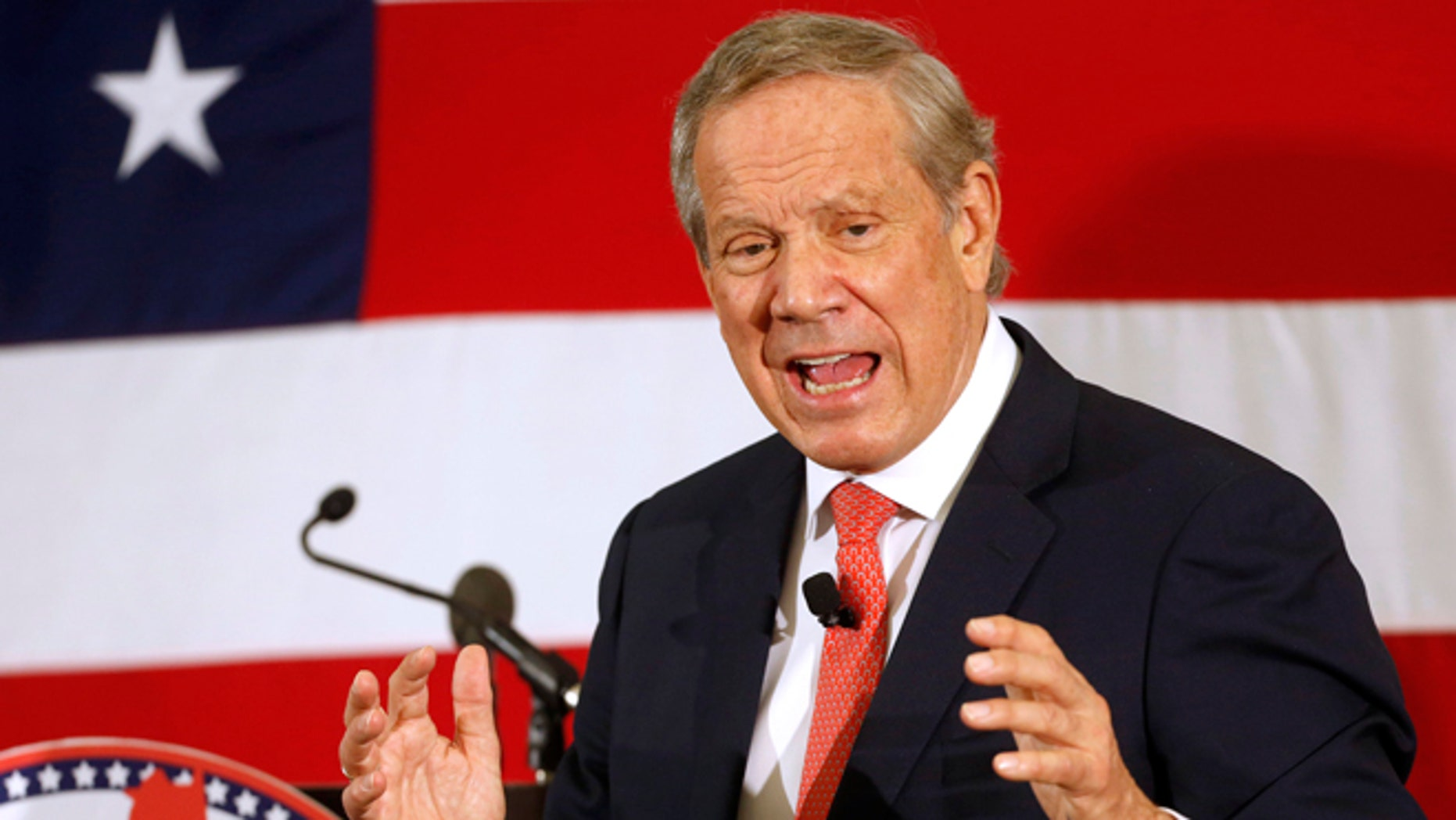 FILE - In this April 17, 2015 file photo, former Gov., N.Y., George Pataki speaks in Nashua, N.H.  Pataki will announce May 28 in New Hampshire whether he intends to seek the Republican nomination for president, he said Thursday. (AP Photo/Jim Cole, File)