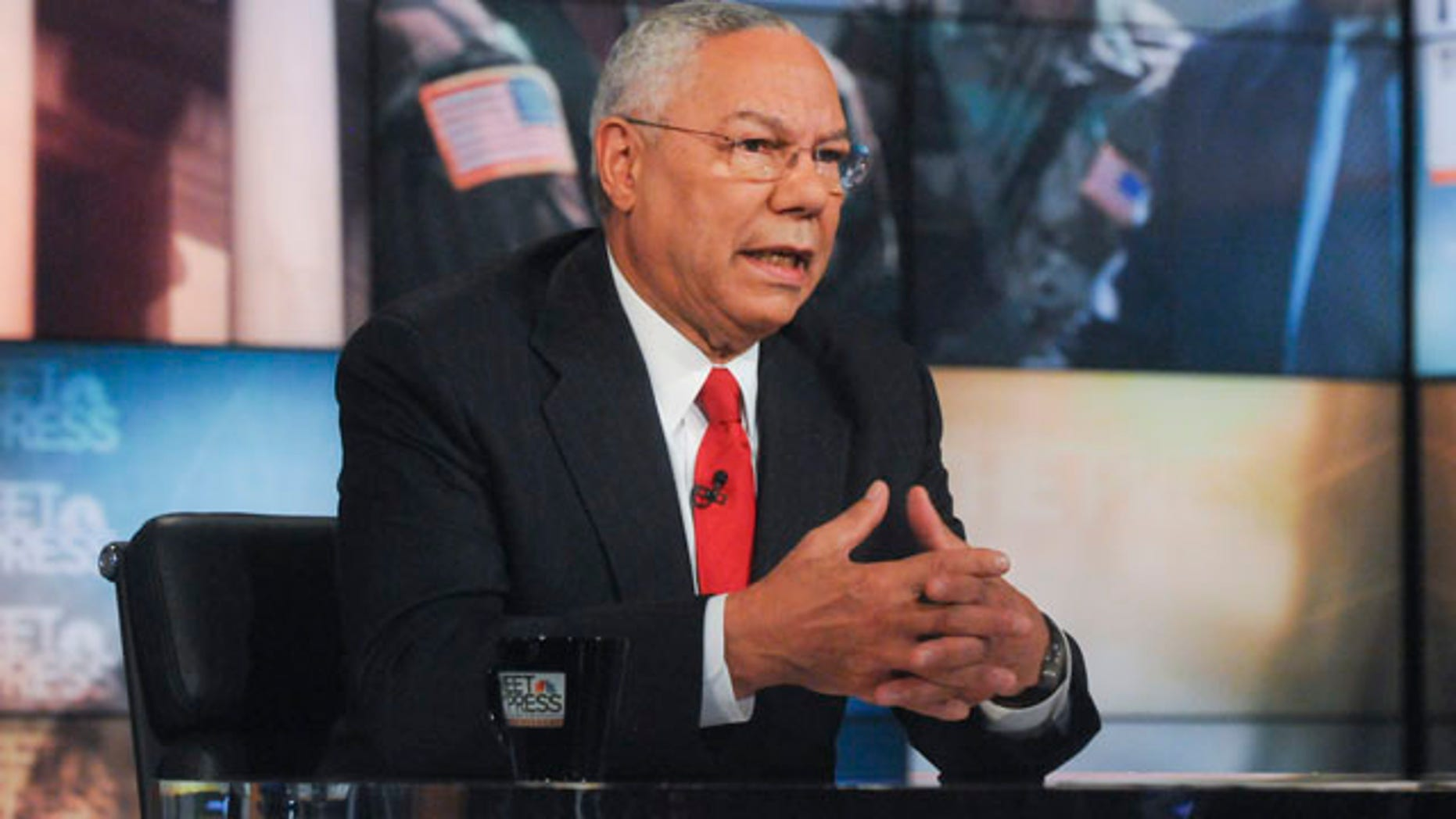 """FILE: Sept. 2011:  In this photo released by NBC, former Secretary of State Gen. Colin Powell speaks on the network's """"Meet the Press."""""""