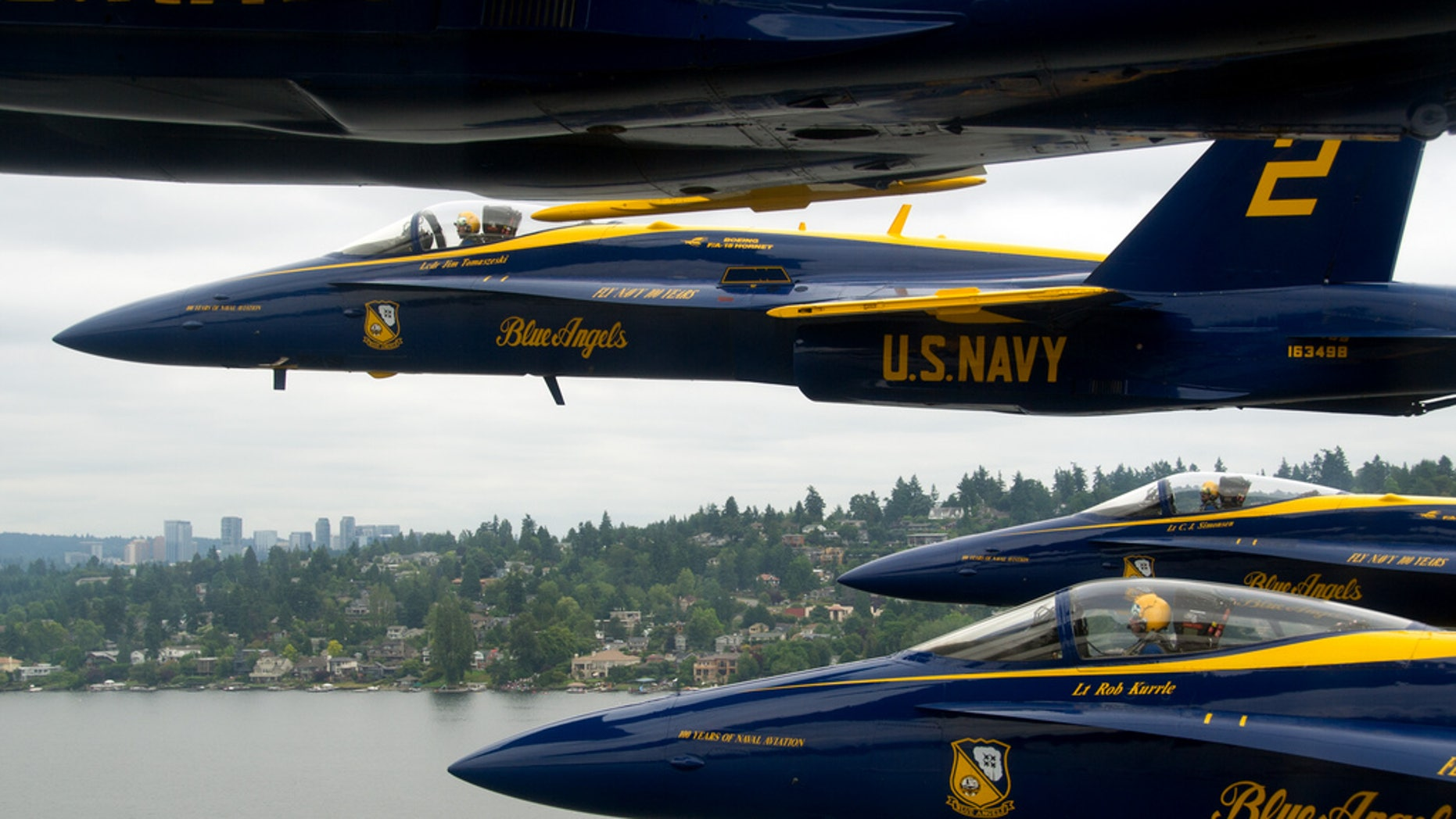 Aug. 5, 2011:The U.S. Navy flight demonstration squadron, the Blue Angels, fly in the delta formation during the 62nd annual Seattle Seafair Fleet Week.