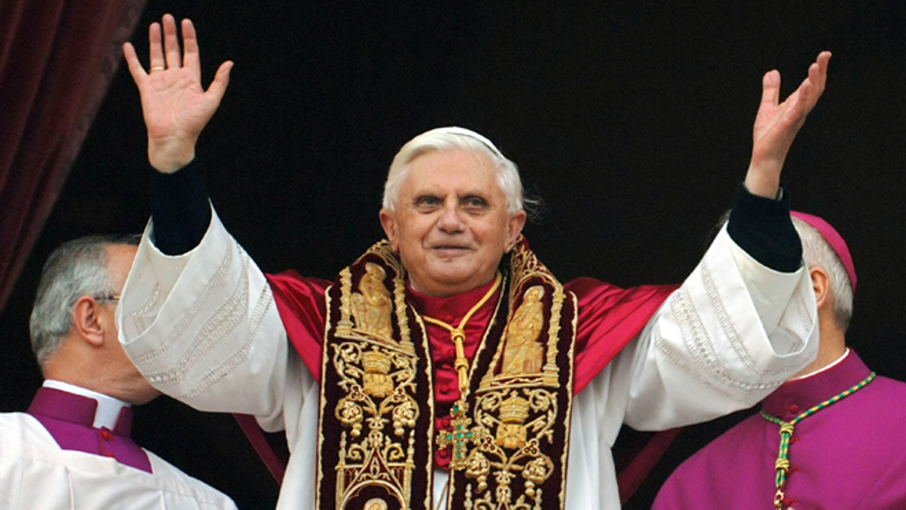 April 19, 2005: Pope Benedict XVI greeting the crowd from the central balcony of St. Peter's Basilica moments after being elected, at the Vatican. On Monday, Benedict XVI announced he would resign Feb. 28, the first pontiff to do so in nearly 600 years. The decision sets the stage for a conclave to elect a new pope before the end of March. (AP)