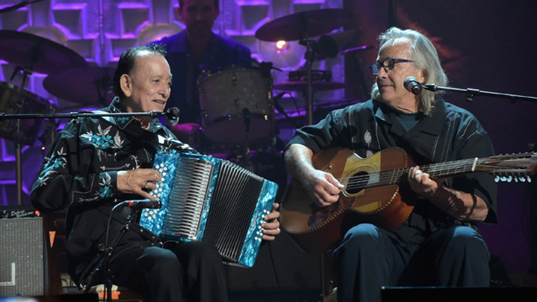 Flaco Jimenez and Ry Cooder at the Ryman Auditorium on September 17, 2014 in Nashville, Tennessee.