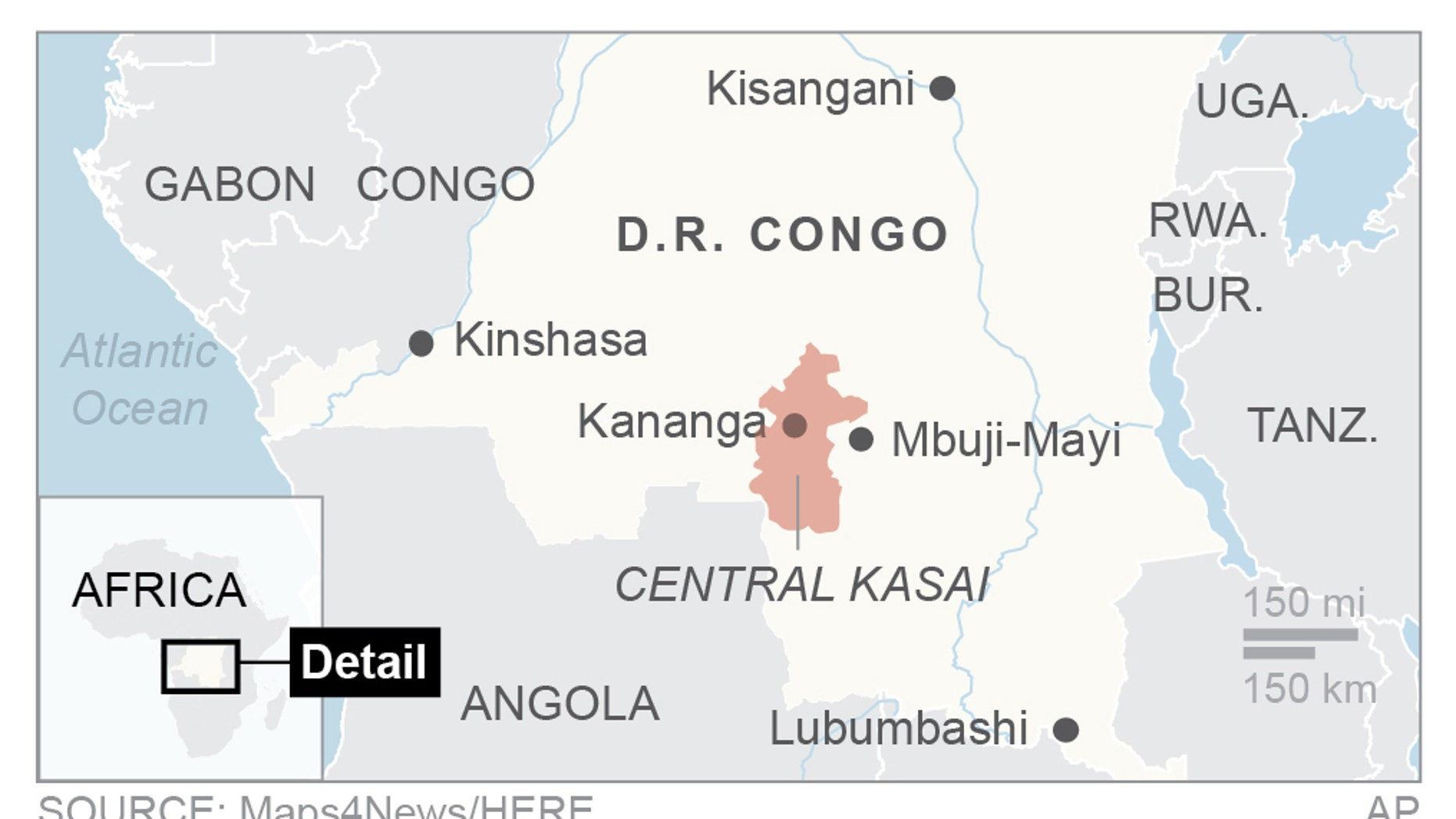 Congo finds 2 bodies in area where UN experts lost