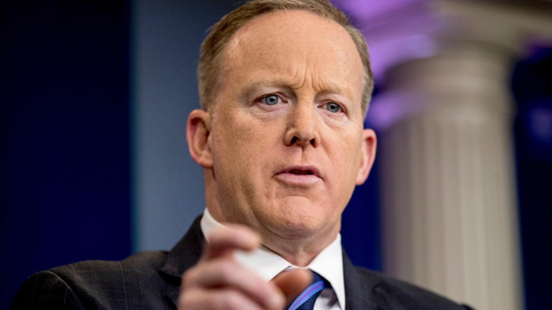 April 10, 2017: White House press secretary Sean Spicer pauses while talking to the media during the daily press briefing at the White House in Washington.