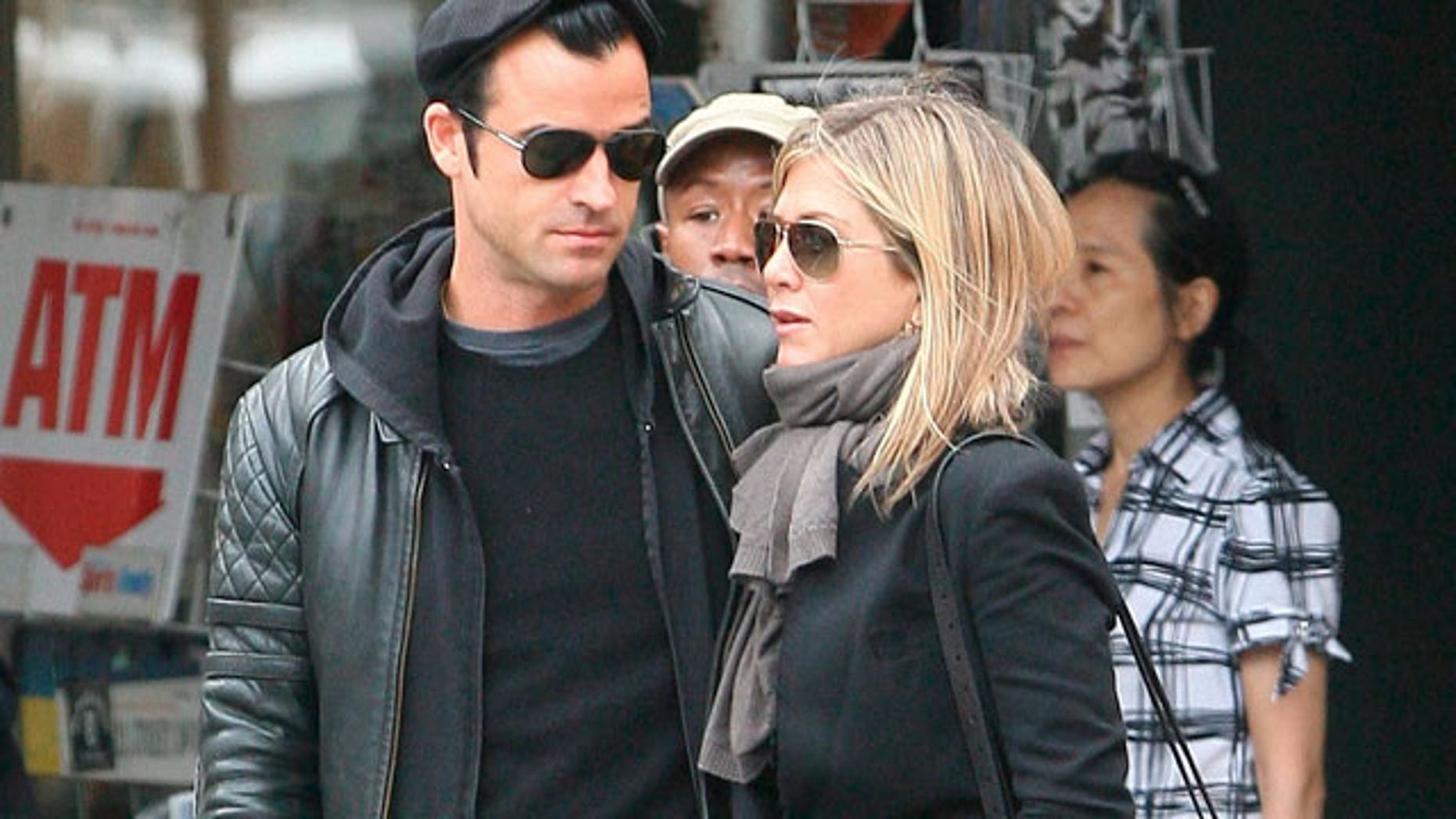 Justin Theroux and Jennifer Aniston in New York City.