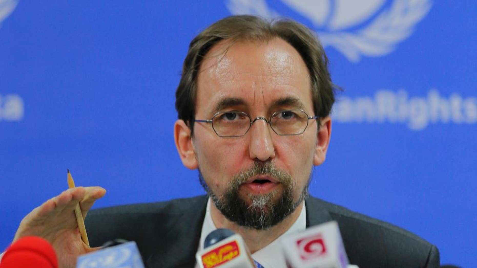 """FILE - In this Feb. 9, 2016, file photo, United Nations High Commissioner for Human Rights Zeid Ra'ad al-Hussein speaks in Colombo, Sri Lanka. The U.N. human rights chief said on Wednesday, Oct. 12, 2016 that U.S. presidential candidate Donald Trump would be """"dangerous from an international point of view"""" if he is elected. (AP Photo/Eranga Jayawardena, File)"""