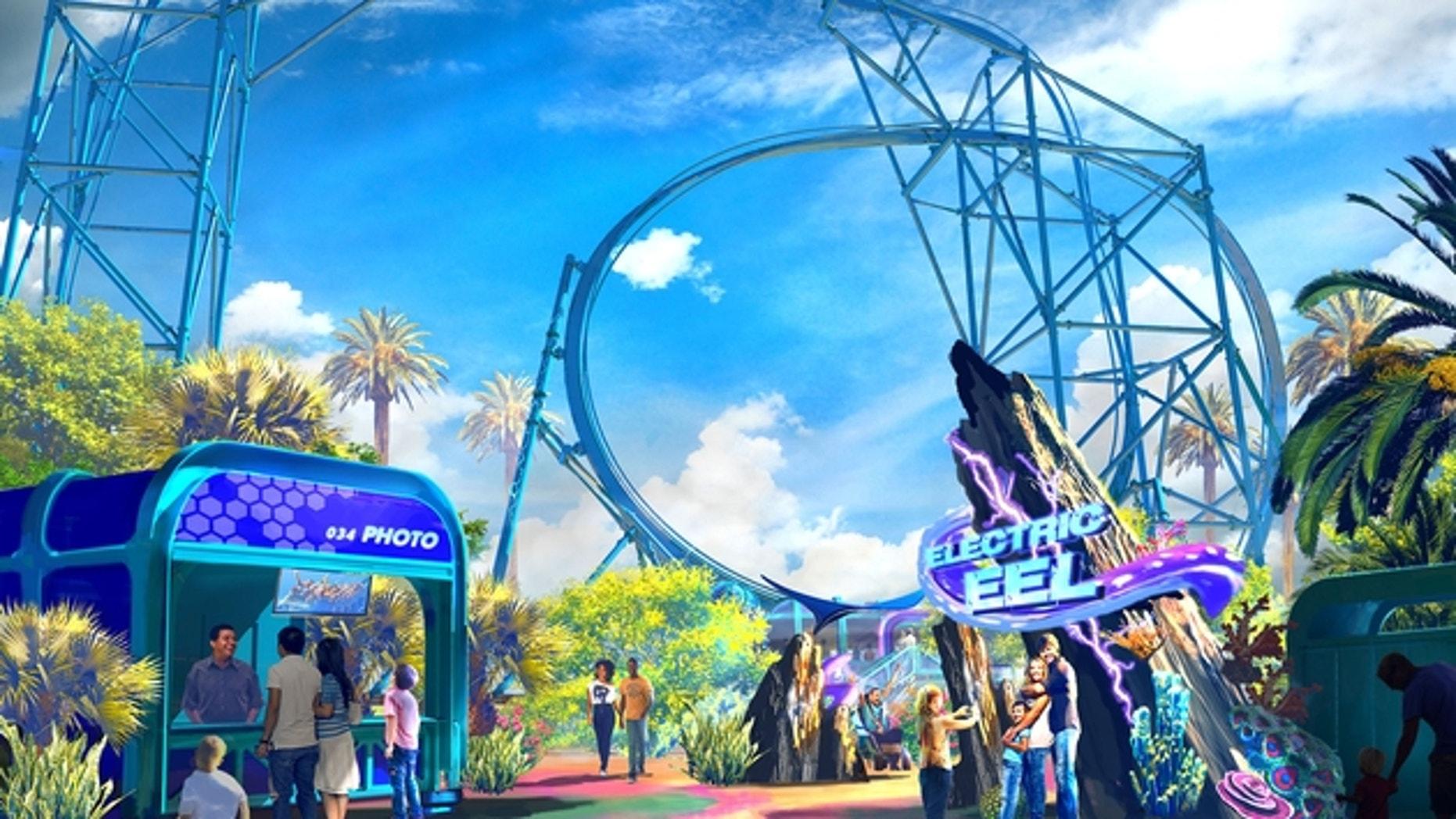 Artist rendering of Electric Eel roller coaster.