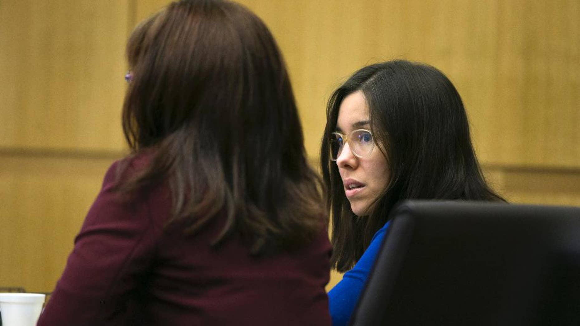 Jodi Arias, right, sits next to her attorney Jennifer Willmott during the sentencing phase of her retrial at Maricopa County Superior Court in Phoenix on Tuesday, Oct. 28, 2014. Arias was found guilty of first degree murder in the death of former boyfriend, Travis Alexander, but the jury hung on the sentencing phase, unable to choose life in prison or the death sentence. (AP Photo/The Arizona Republic, David Wallace, Pool)