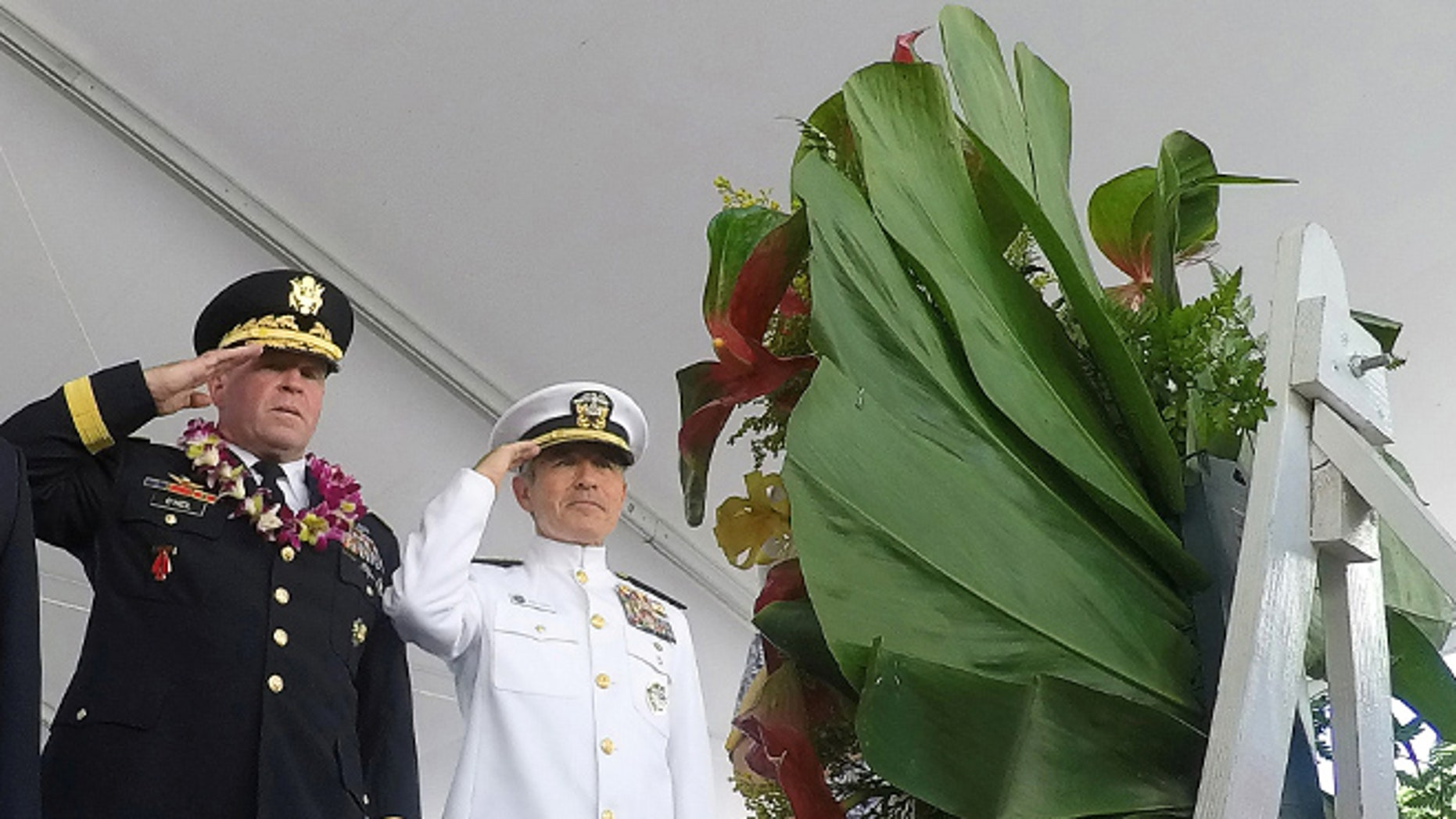 File: Nov. 11, 2016: Army Major General Mark J. O'Neil and Navy Admiral Harry Harris (R) at a Veterans Day ceremony at the National Memorial Cemetery of the Pacific at Punchbowl in Honolulu, Hawaii. (REUTERS)