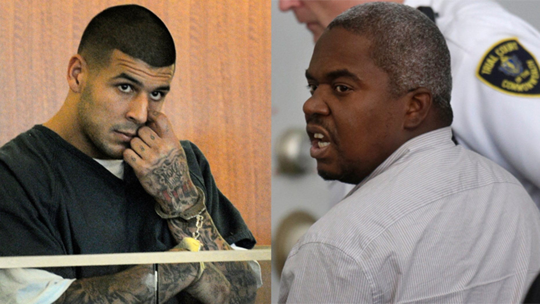 Former New England Patriots tight end Aaron Hernandez (right) in court and associate Ernest Wallace, of Miramar, Fla., mouths words to people sitting in Attleboro District Court, in Attleboro, Mass.