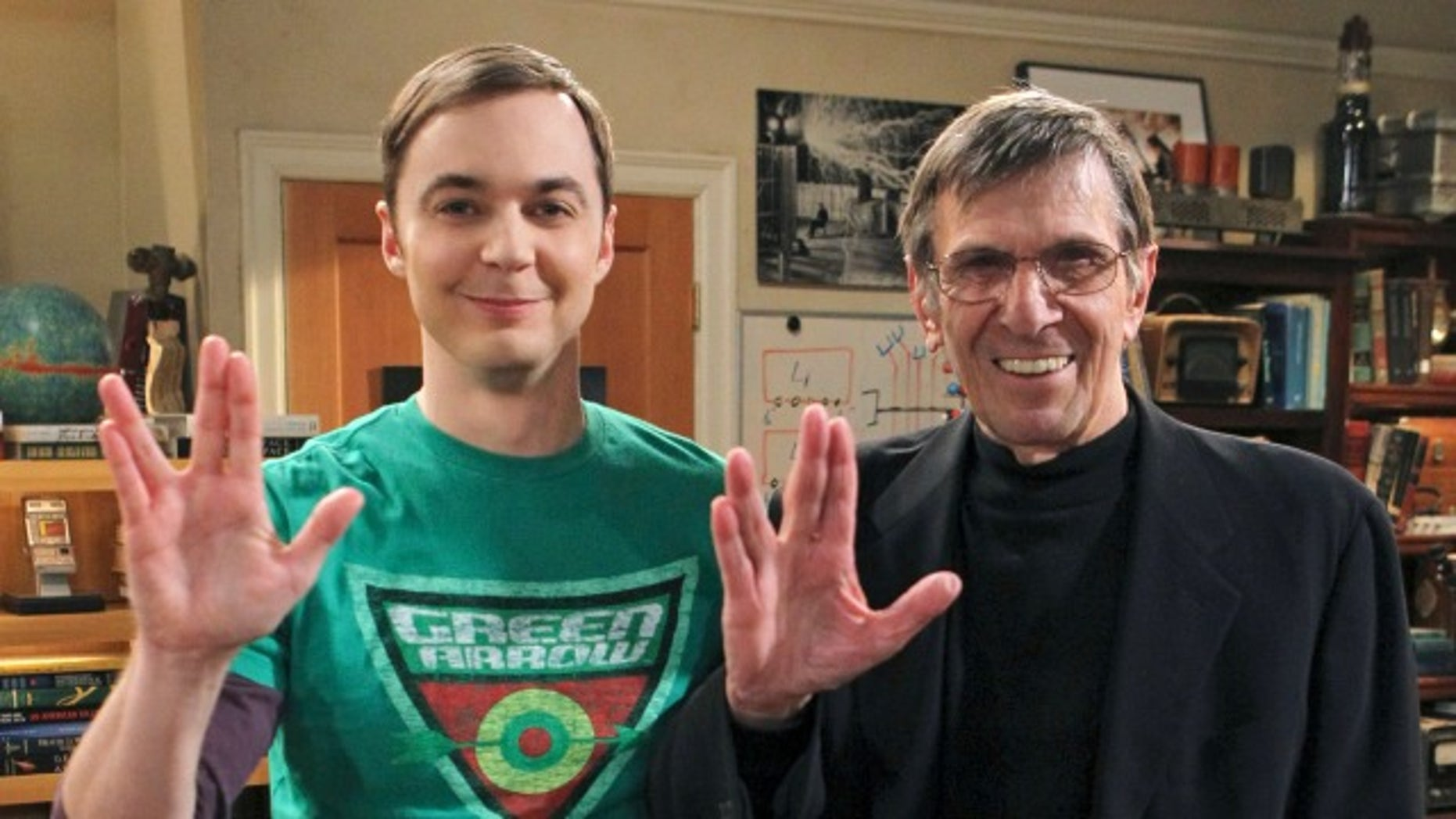 Jim Parsons and Leonard Nimoy on the set of 'The Big Bang Theory.'