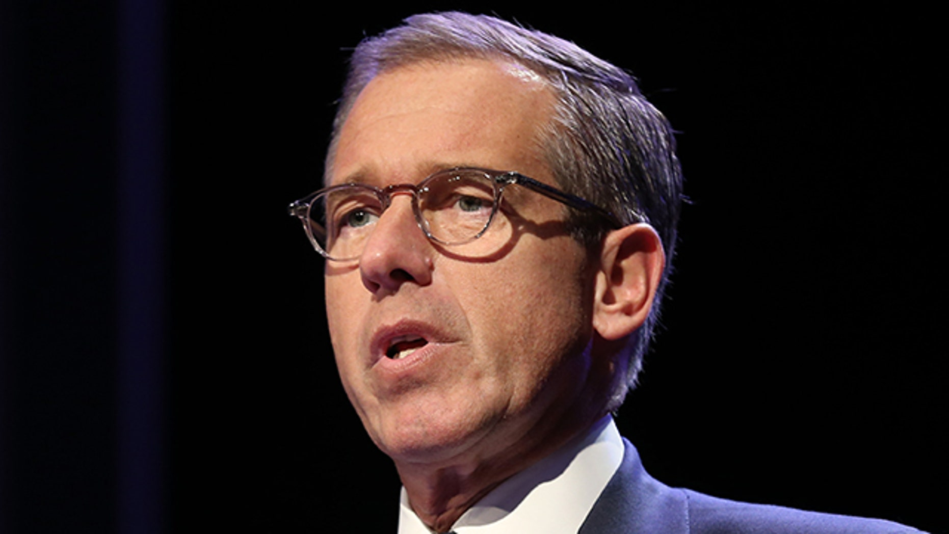 March 30, 2014. Emmy Award-winning anchor & managing editor of NBC Nightly News  Brian Williams speaks at the 57th Annual New York Emmy awards at Marriott Marquis Times Square in New York.