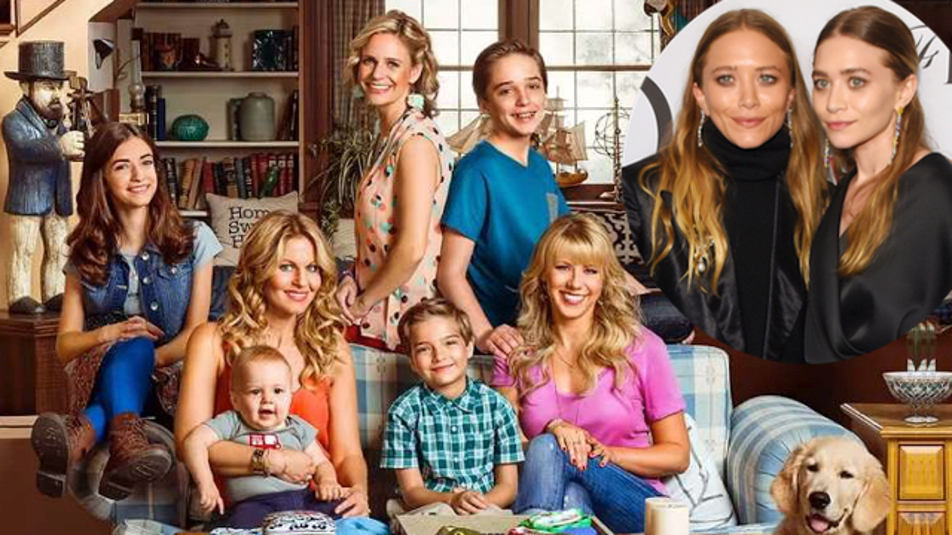"""Cast of """"Fuller House"""" and an inset of Mary-Kate and Ashley Olsen."""