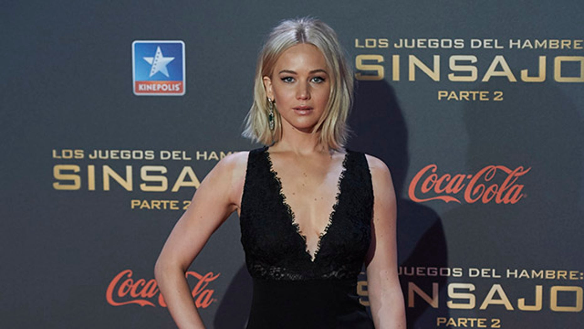 "MADRID, SPAIN - NOVEMBER 10:  Actress Jennifer Lawrence attends ""The Hunger Games: Mockingjay - Part 2"" (Los Juegos del Hambre: Sinsajo Parte 2) premiere at the Kinepolis Cinema on November 10, 2015 in Madrid, Spain.  (Photo by Carlos Alvarez/Getty Images)"