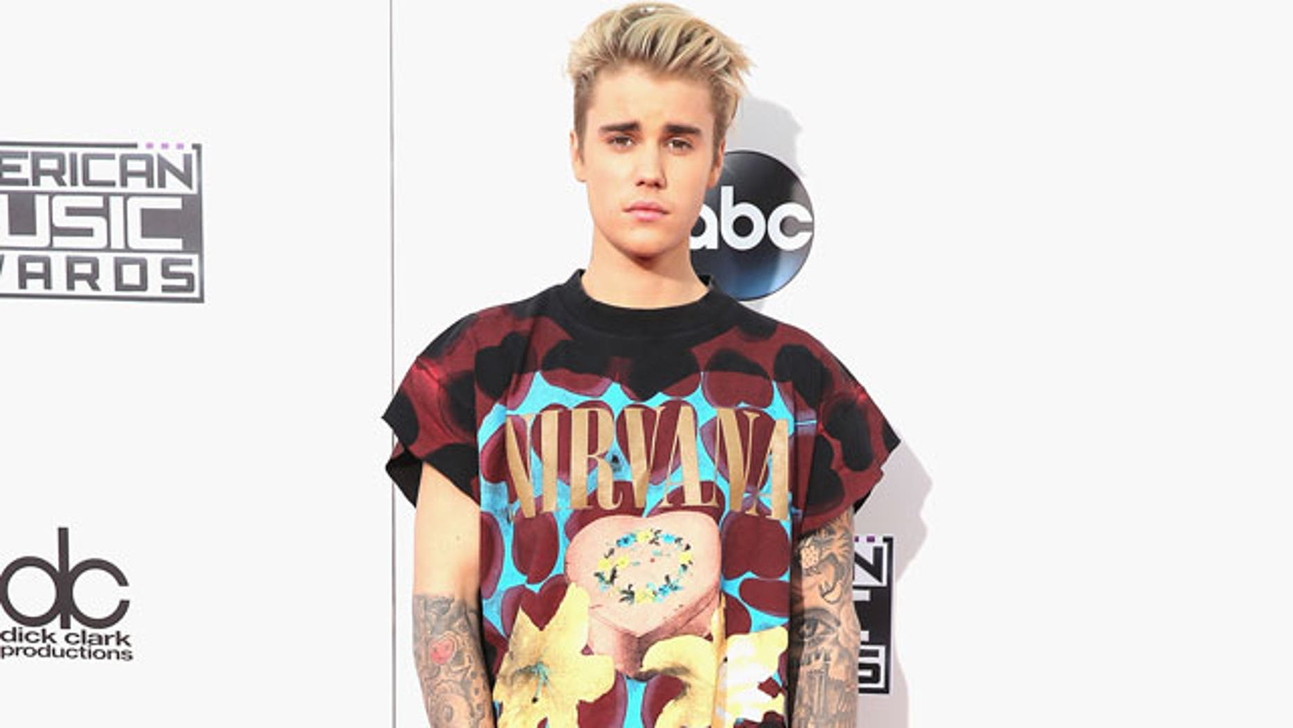 Justin Bieber at the American Music Awards in 2015.