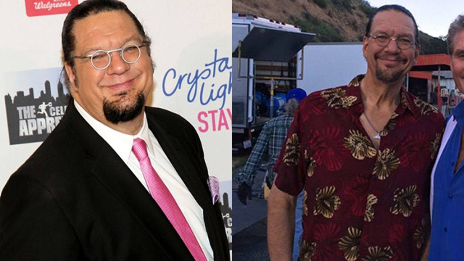 """Illusionist Penn Jillette revealed his dramatic 105 lbs weight loss. Jillette lost the weight in just four months without magic, he said. The 6 foot 7 inch star went from 330 to 225 lbs by drastically changing his eating habits. """"I eat unbelievable amounts of food but just very, very, very healthy food,"""" the magician told People. (Getty/Twitter)"""
