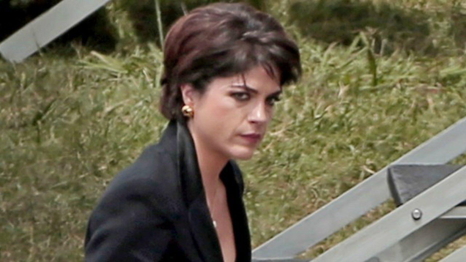 "Selma Blair on the set of ""American Crime Story."""