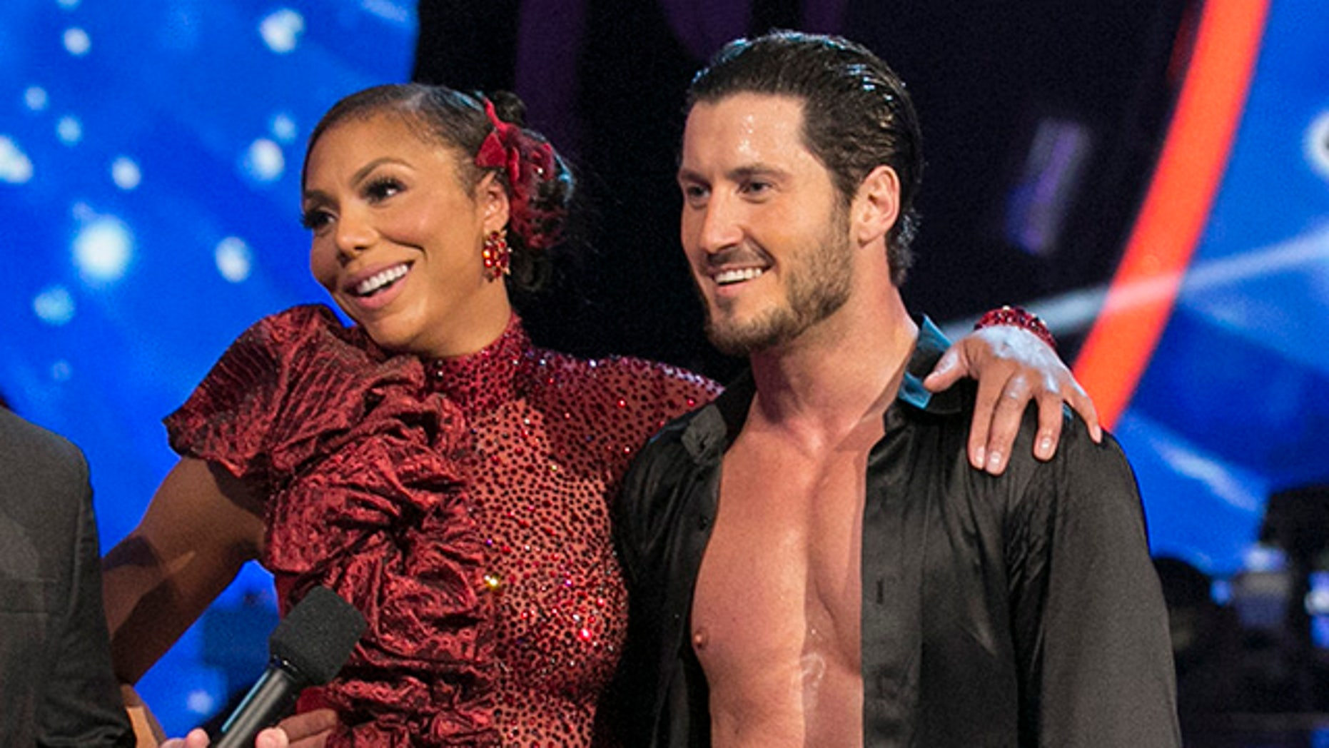 """DANCING WITH THE STARS - """"Episode 2108"""" - The """"Dancing with the Stars"""" celebrities paid tribute to influential figures in their lives on MONDAY, NOVEMBER 2 (8:00-10:01 p.m., ET). The dance styles included Argentine Tango, Foxtrot, Contemporary, Salsa, Paso Doble and the Viennese Waltz. For the first time this season, the couple with the highest score from their solo dance was be granted immunity from elimination next week and also received 3 additional points. For the first time ever, each of the six couples that did not receive immunity were then paired up to compete in a head-to-head dance-off to be voted on by America in real-time on www.ABC.com and the three judges. The couple with the majority of the four potential votes from each dance-off earned an extra 2 points, increasing their overall score.  At the end of the night, one couple faced elimination. (Photo by Adam Taylor/ABC via Getty Images)"""