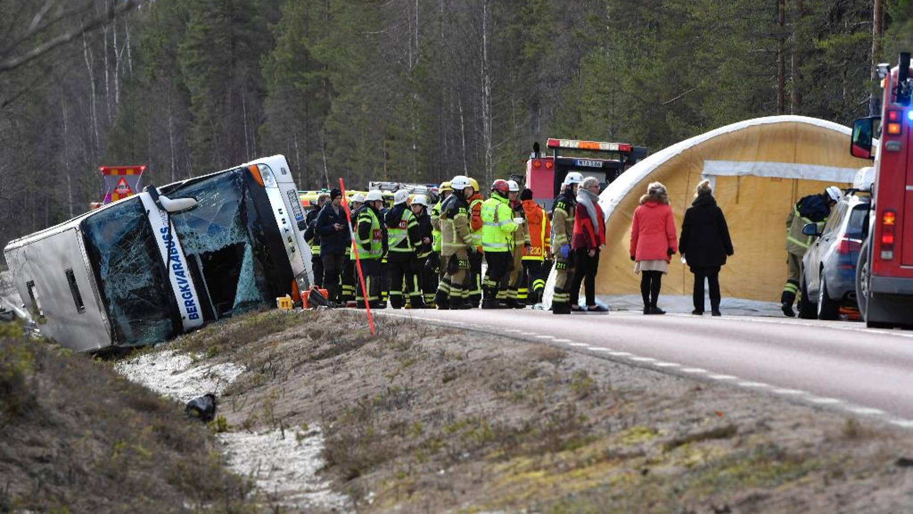 Emergency services and ambulance at the scene of a bus accident, on the E45 between Sveg and Fagelsjo in Sweden, Sunday, April 2, 2017.