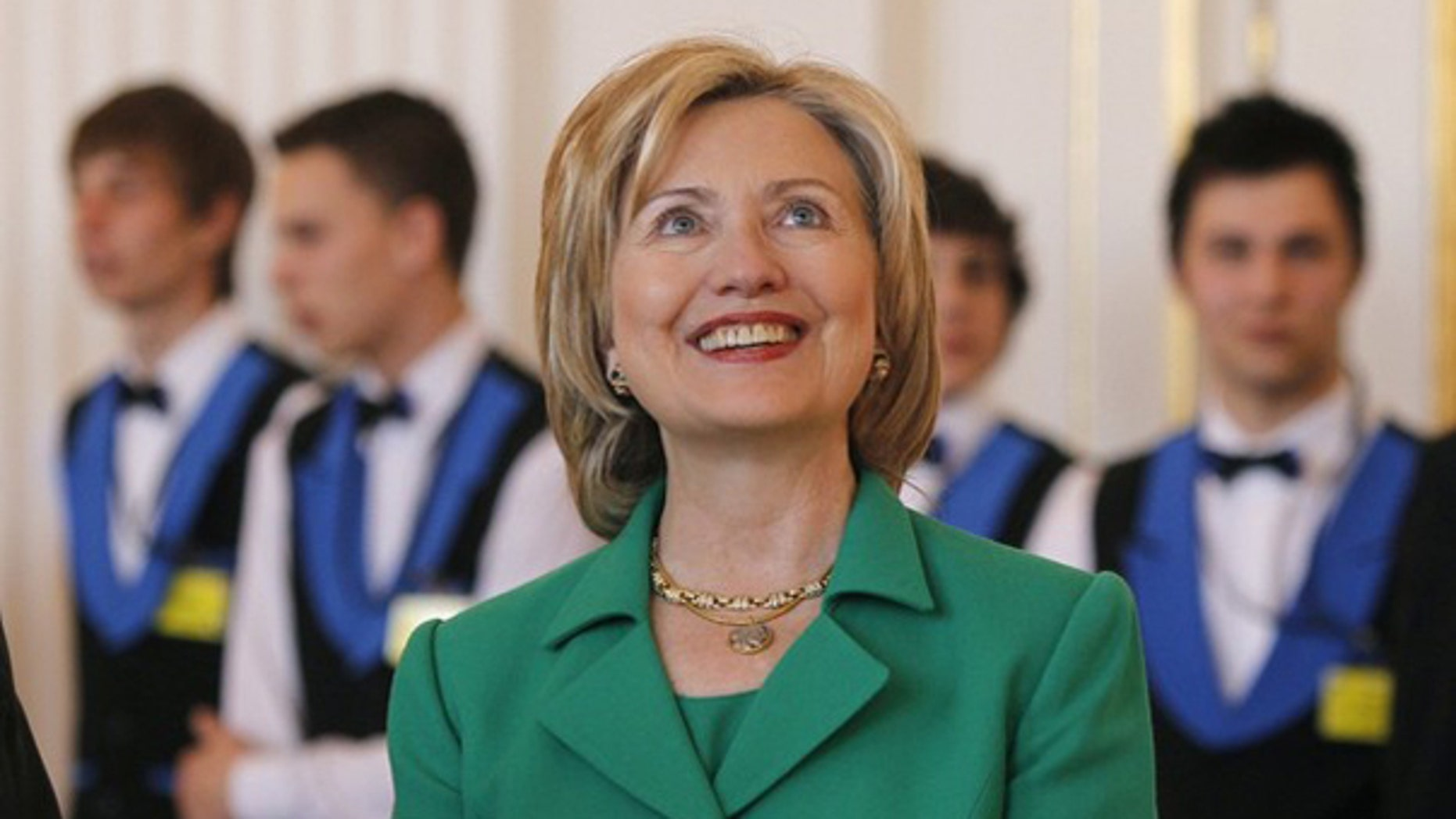 Secretary of State Hillary Clinton is pictured during a lunch for President Obama in Prague April 8. (Reuters Photo)