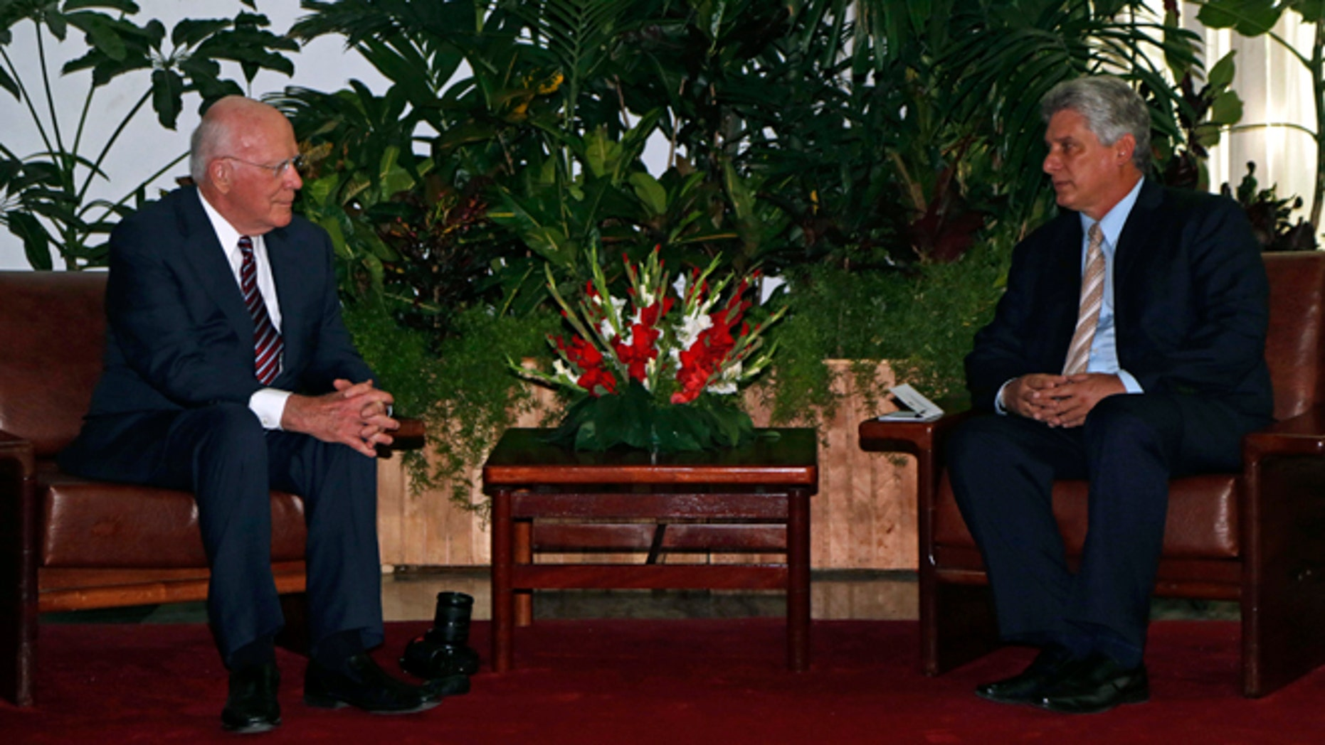 Sen. Patrick Leahy, D-Vt., left, and Cuba's First Vice President Miguel Diaz-Canel Bermudez, sit for a meeting at the Palace of The Revolution in Havana, Cuba, Friday, June 26, 2015. (AP Photo/Desmond Boylan, Pool)