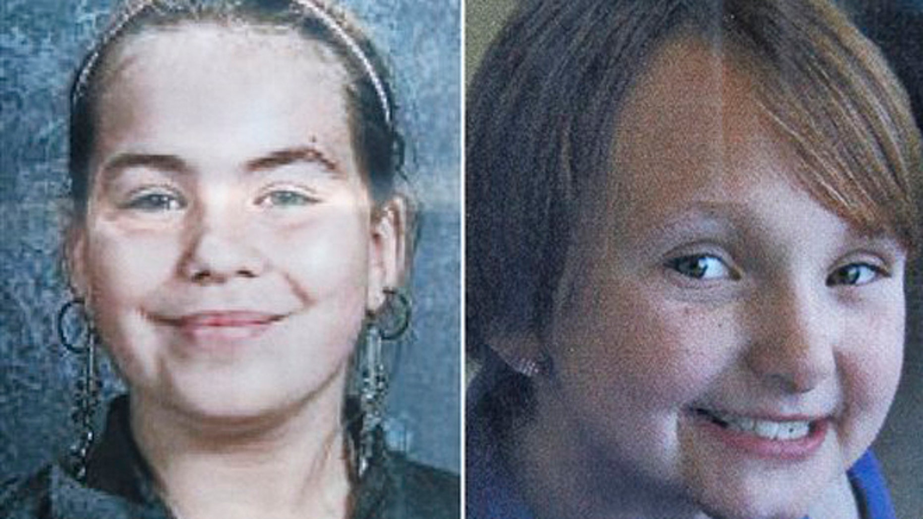 This combo made from undated photos provided by Black Hawk County police shows cousins Lyric Cook-Morrissey, 10, left, and Elizabeth Collins, 8, who have been missing since Friday afternoon, July 13, 2012.
