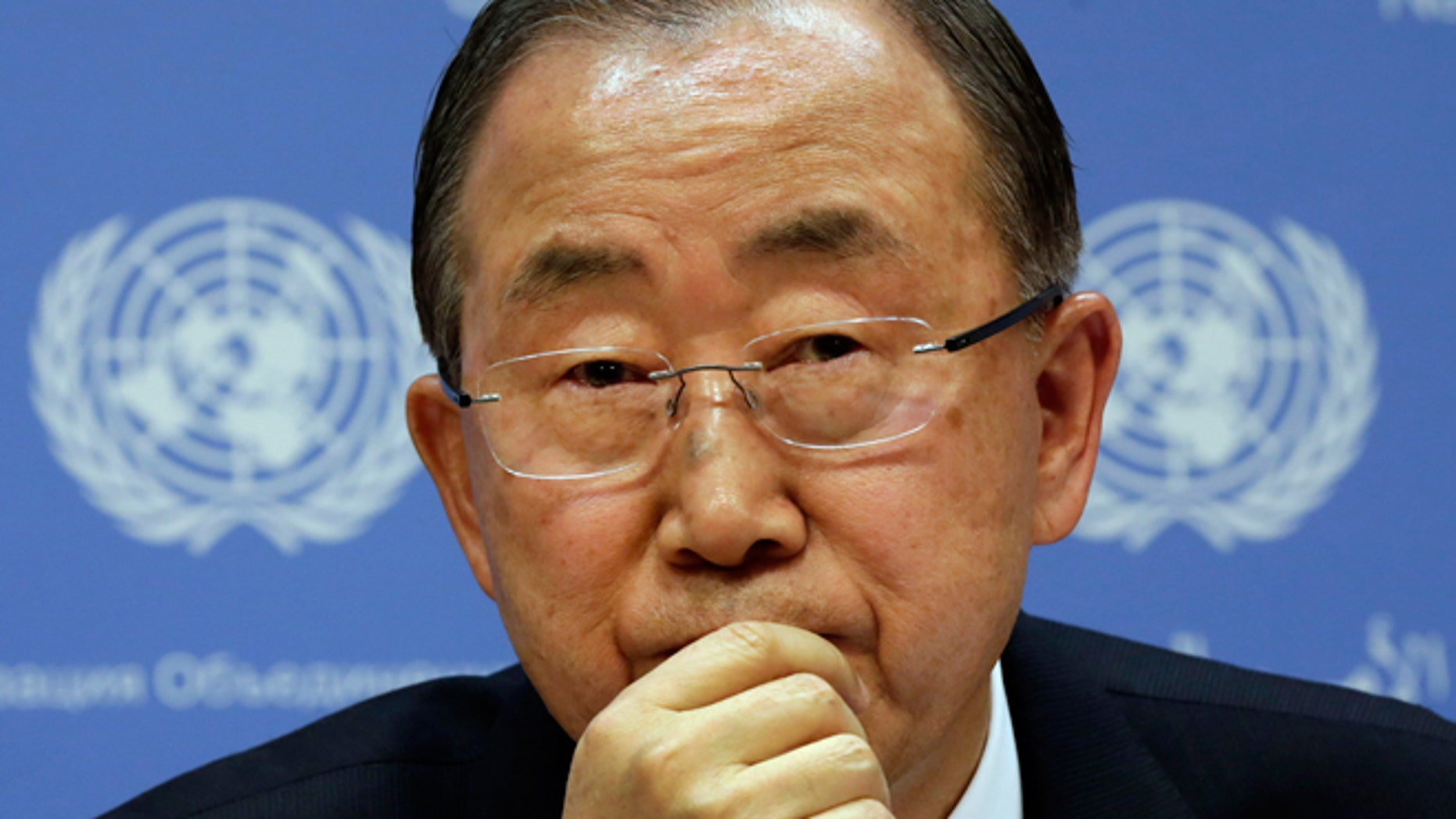 FILE - Sept. 16, 2014: United Nations Secretary General Ban Ki-moon participates in a news conference, at United Nations headquarters.