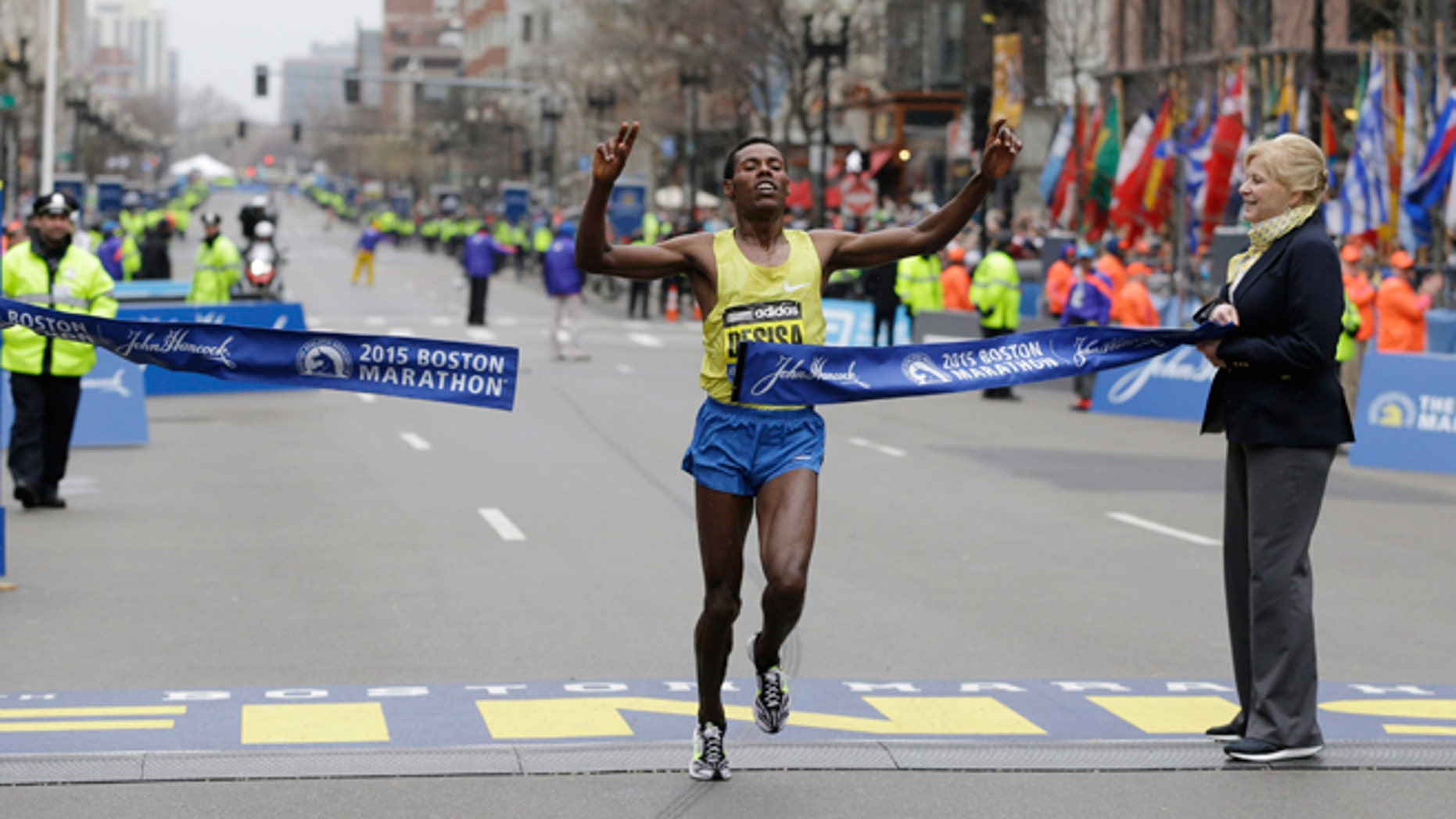 April 20, 2015: Lelisa Desisa, of Ethiopia, crosses the finish line to win the Boston Marathon in Boston.