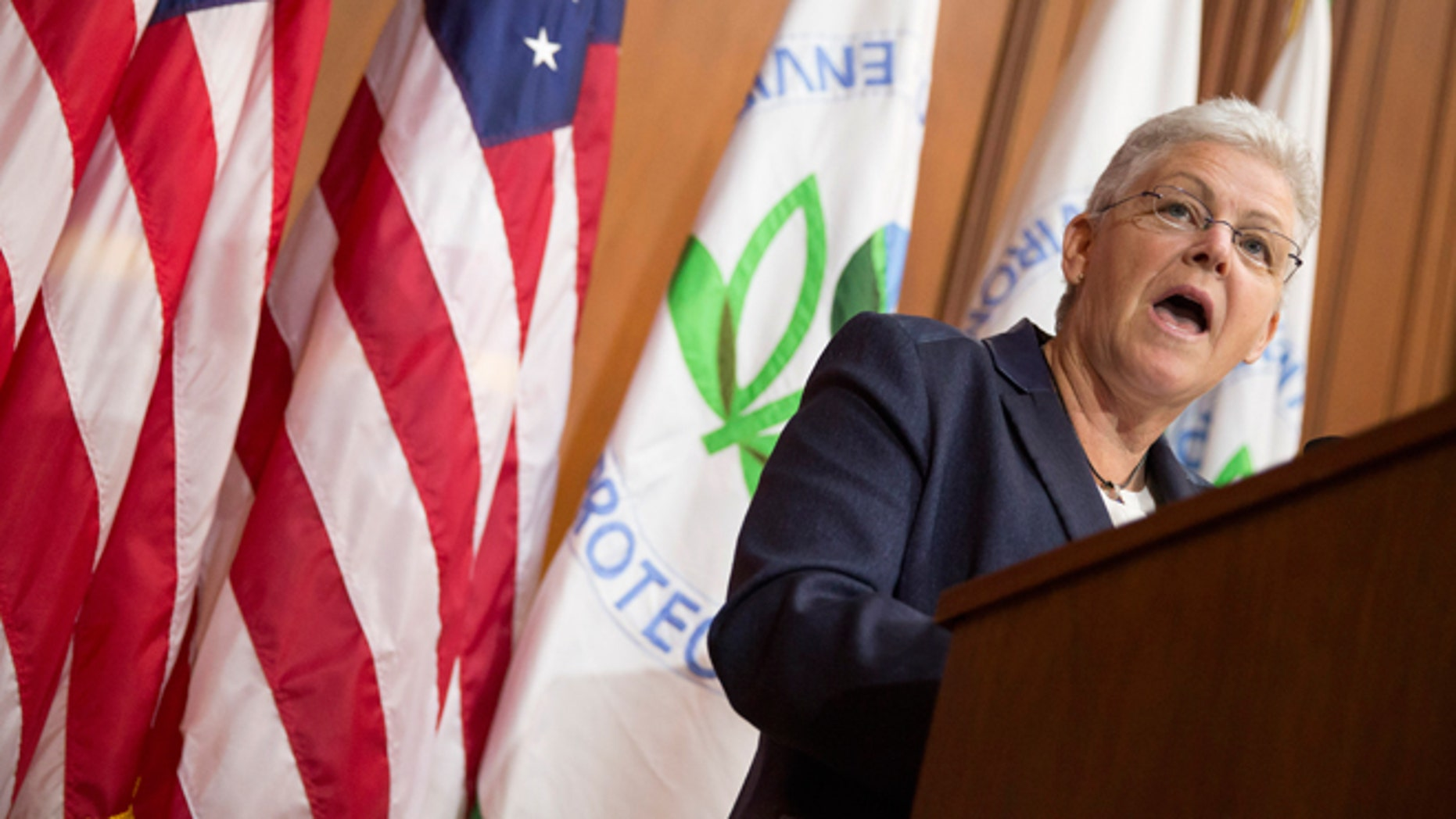 June 2, 2014: Environmental Protection Agency (EPA) Administrator Gina McCarthy speaks during an announcement of a plan to cut carbon dioxide emissions from power plants by 30 percent by 2030 at EPA headquarters in Washington. In a sweeping initiative to curb pollutants blamed for global warming, the Obama administration unveiled a plan that cuts carbon dioxide emissions from power plants by nearly a third over the next 15 years, but pushes the deadline for some states to comply until long after President Obama leaves office.