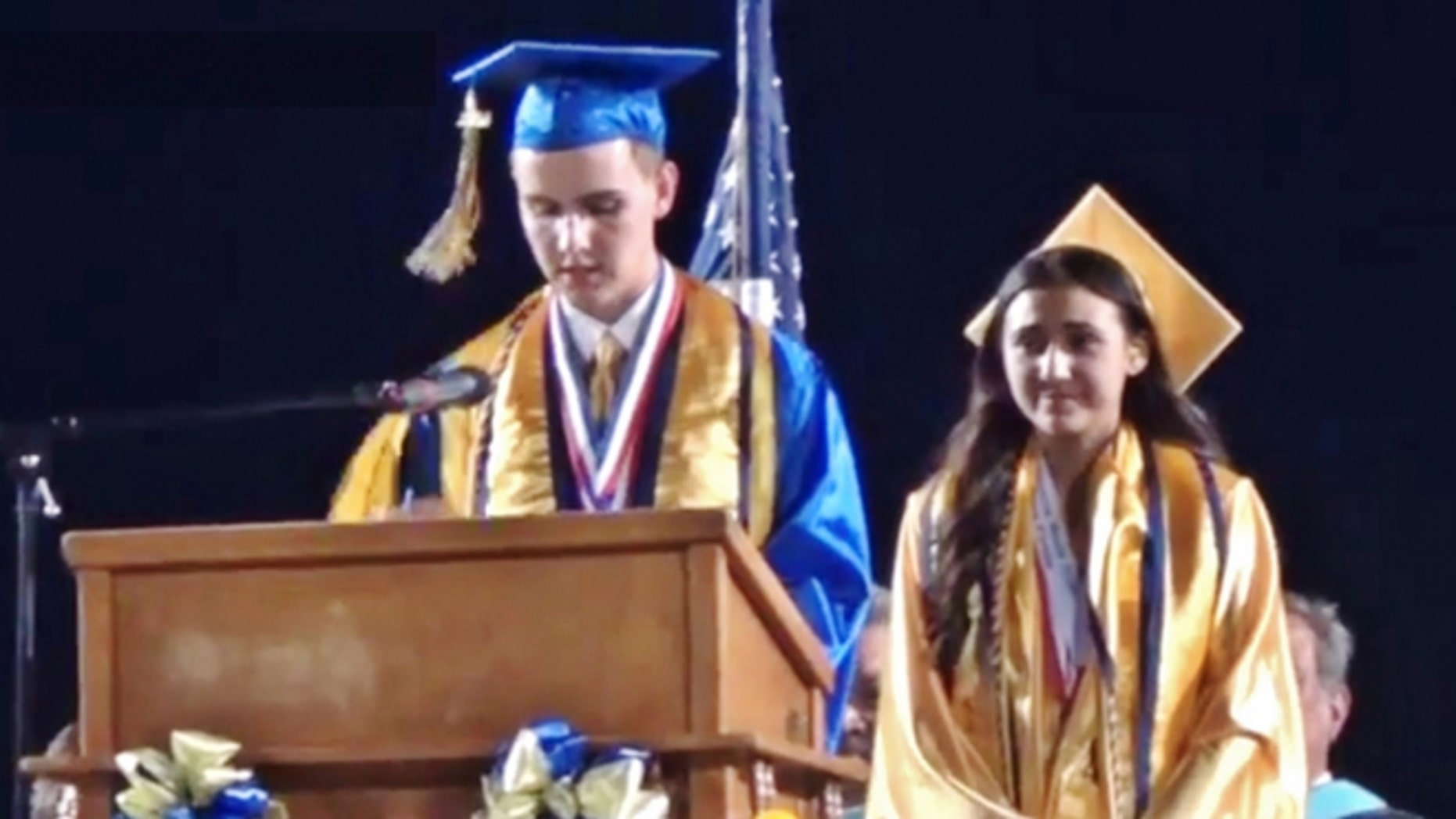 Brooks Hamby speaking at his high school graduation