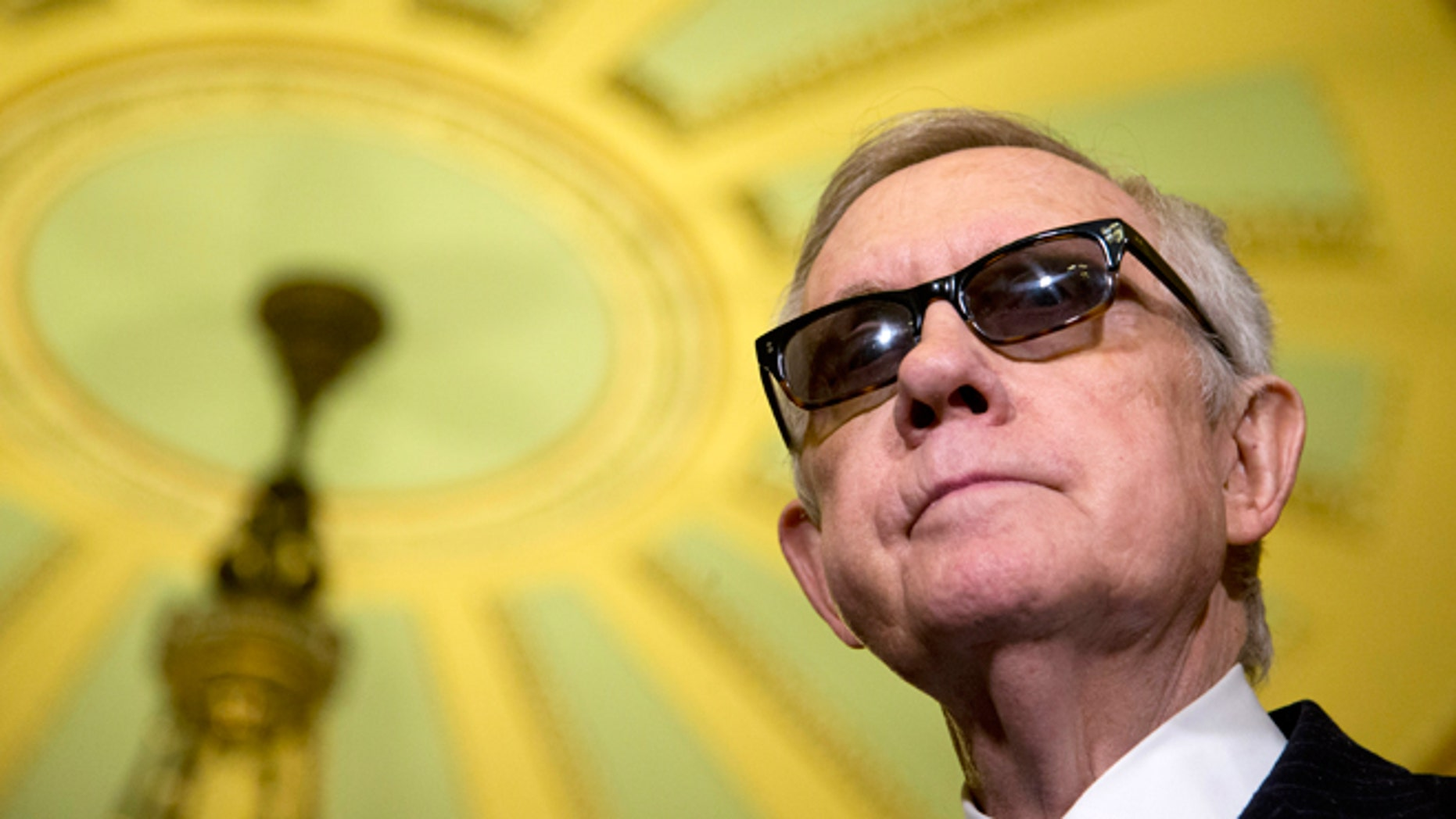 April 14, 2015: Senate Minority Leader Harry Reid of Nev. pauses during a news conference on Capitol Hill in Washington following a Senate policy luncheon.