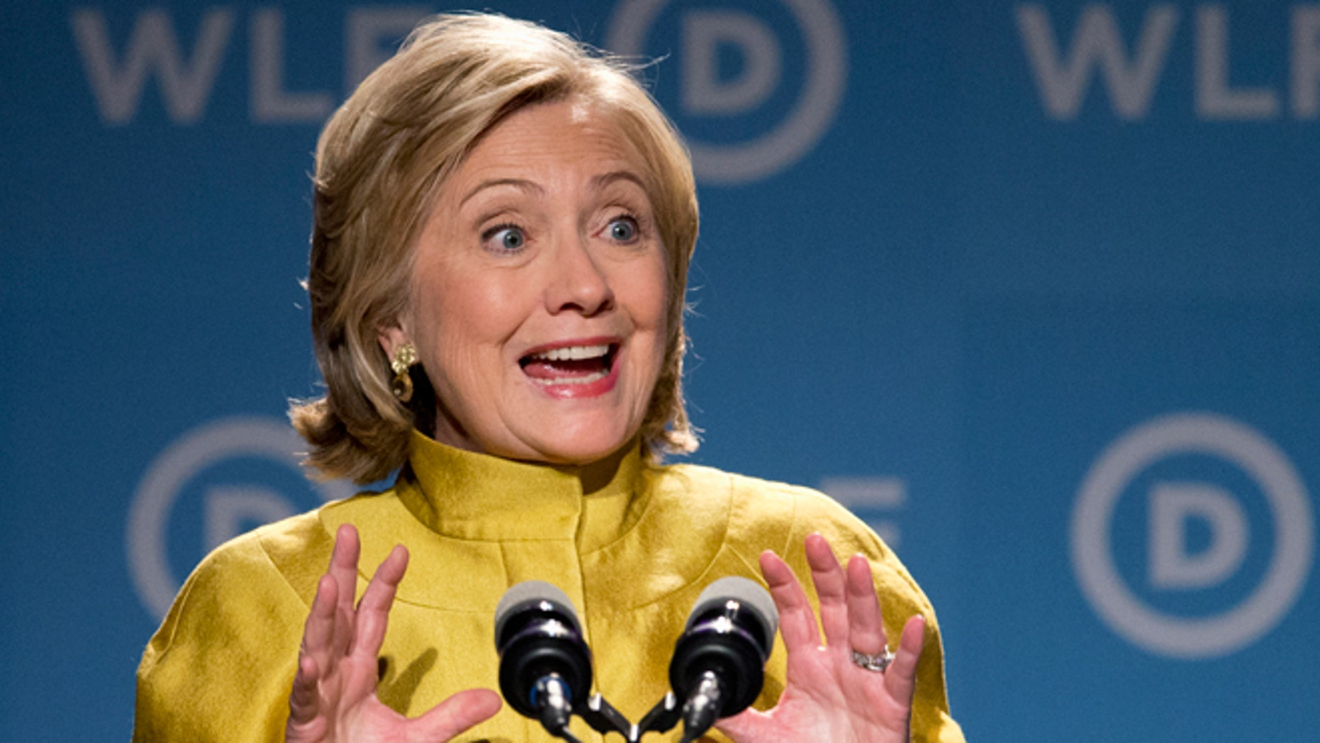 FILE - Sept. 19, 2014: former Secretary of State Hillary Rodham Clinton speaks in Washington.