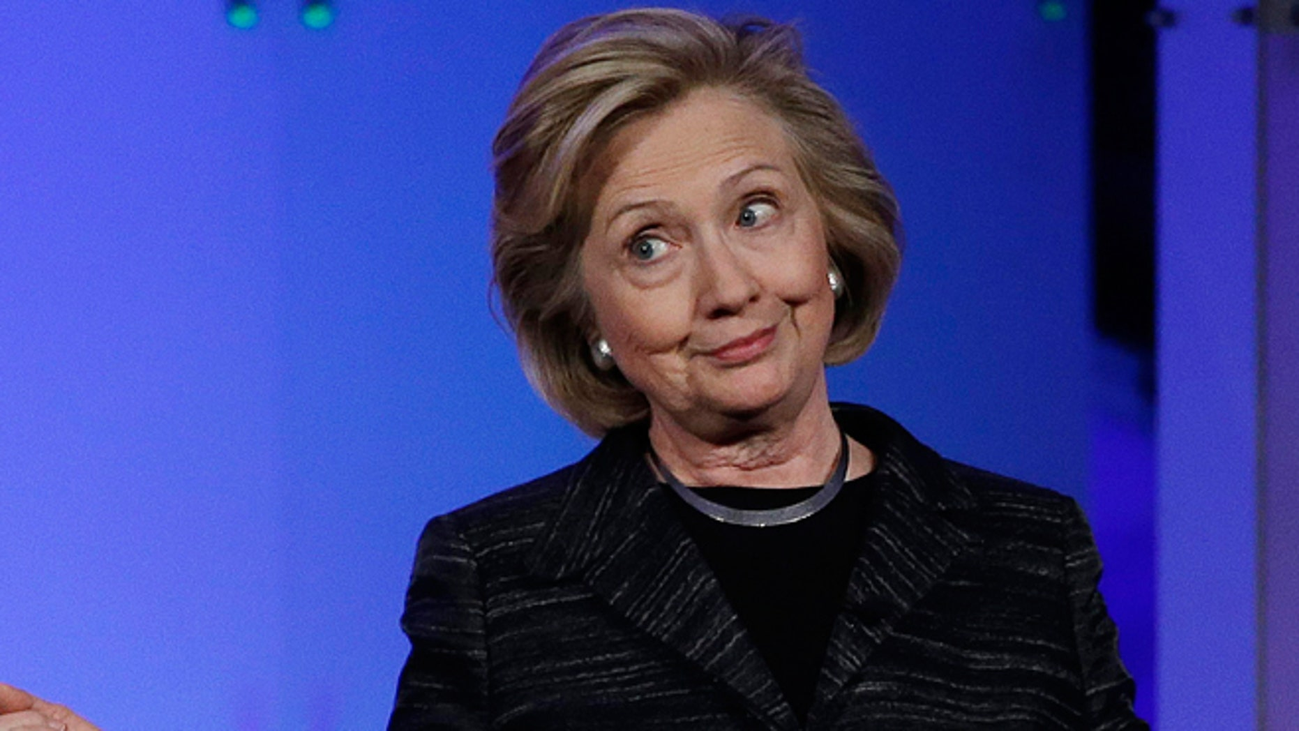 Feb. 24, 2015: Hillary Rodham Clinton  jokes with the crowd during a keynote address at the Watermark Silicon Valley Conference for Women, in Santa Clara, Calif.
