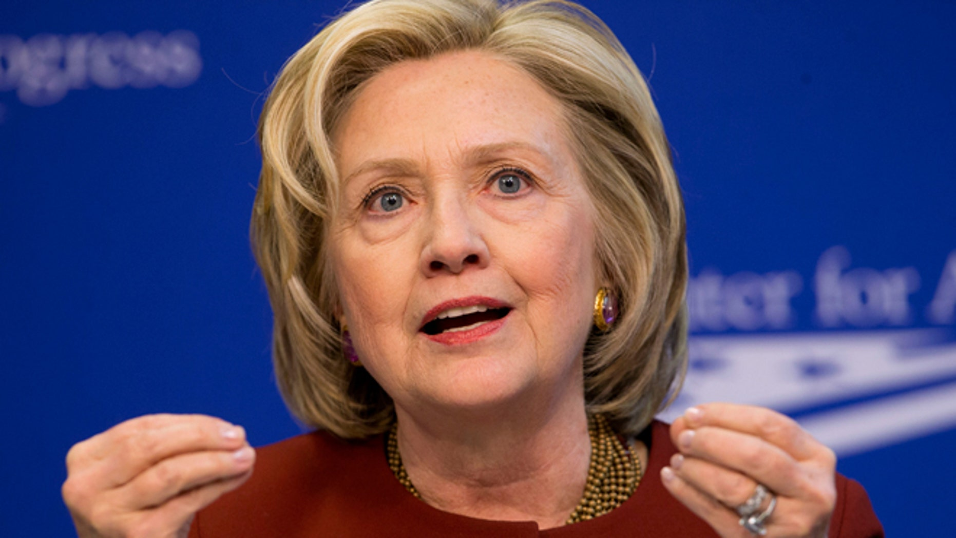 FILE -- March 23, 2015: Former Secretary of State Hillary Rodham Clinton speaks in Washington.